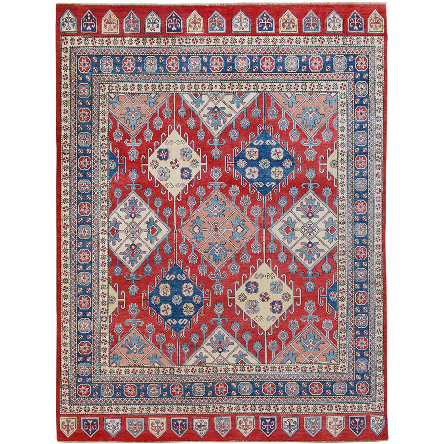 "8'X9'8"" Red Special Kazak All Overdesign Pure Wool Hand Knotted Oriental Rug moae700e"
