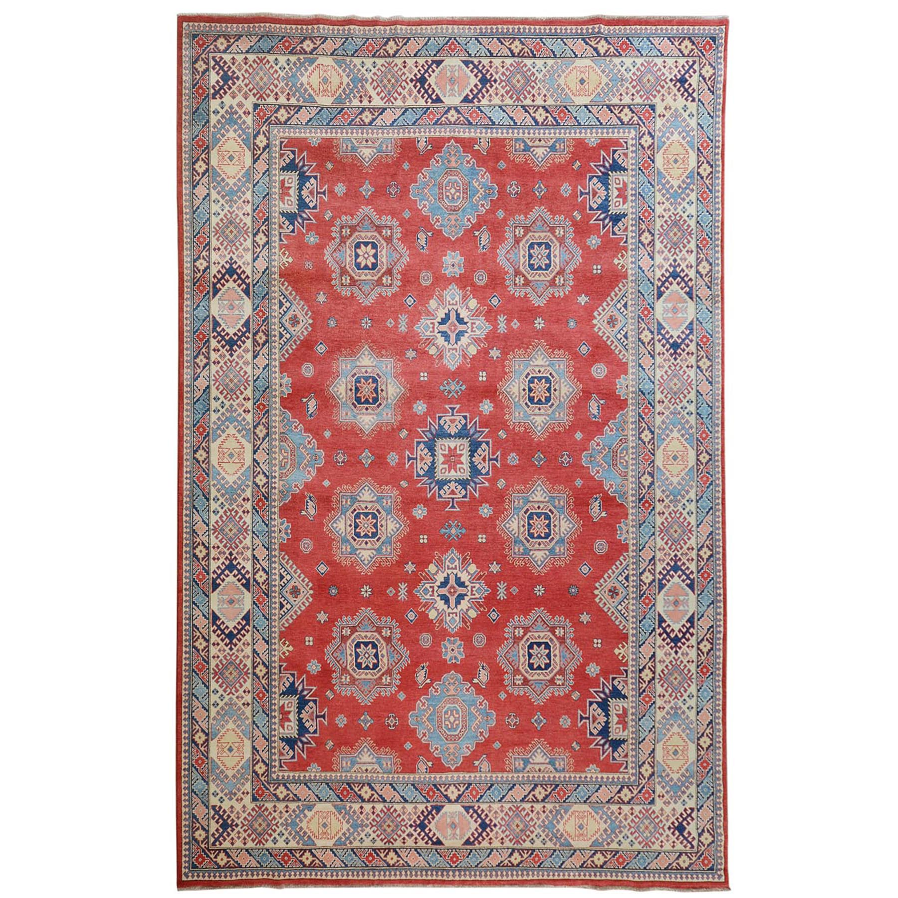 """10'X13'6"""" Red Special Kazak Geometric Design Pure Wool Hand Knotted Oriental Rug moae70ab"""