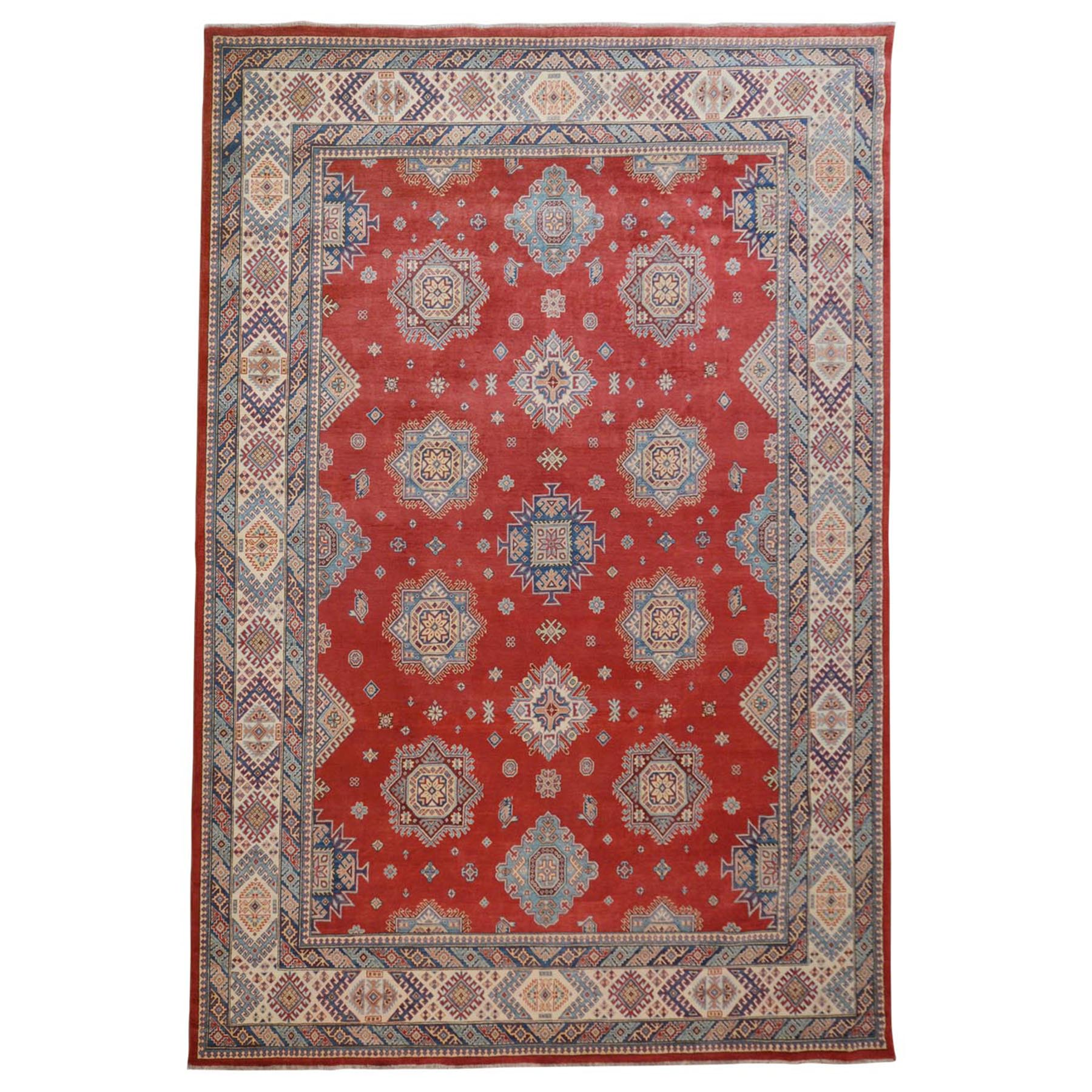 "10'3""X14' Red Special Kazak All Over Design Pure Wool Hand Knotted Oriental Rug moae70ad"