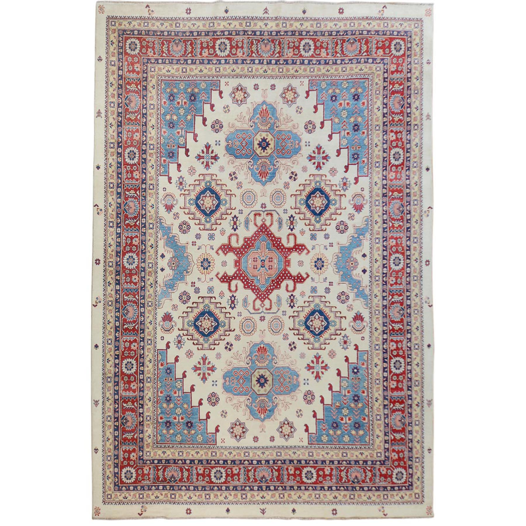 "10'X13'4"" Ivory Special Kazak Heriz Design Pure Wool Hand Knotted Oriental Rug moae70bb"