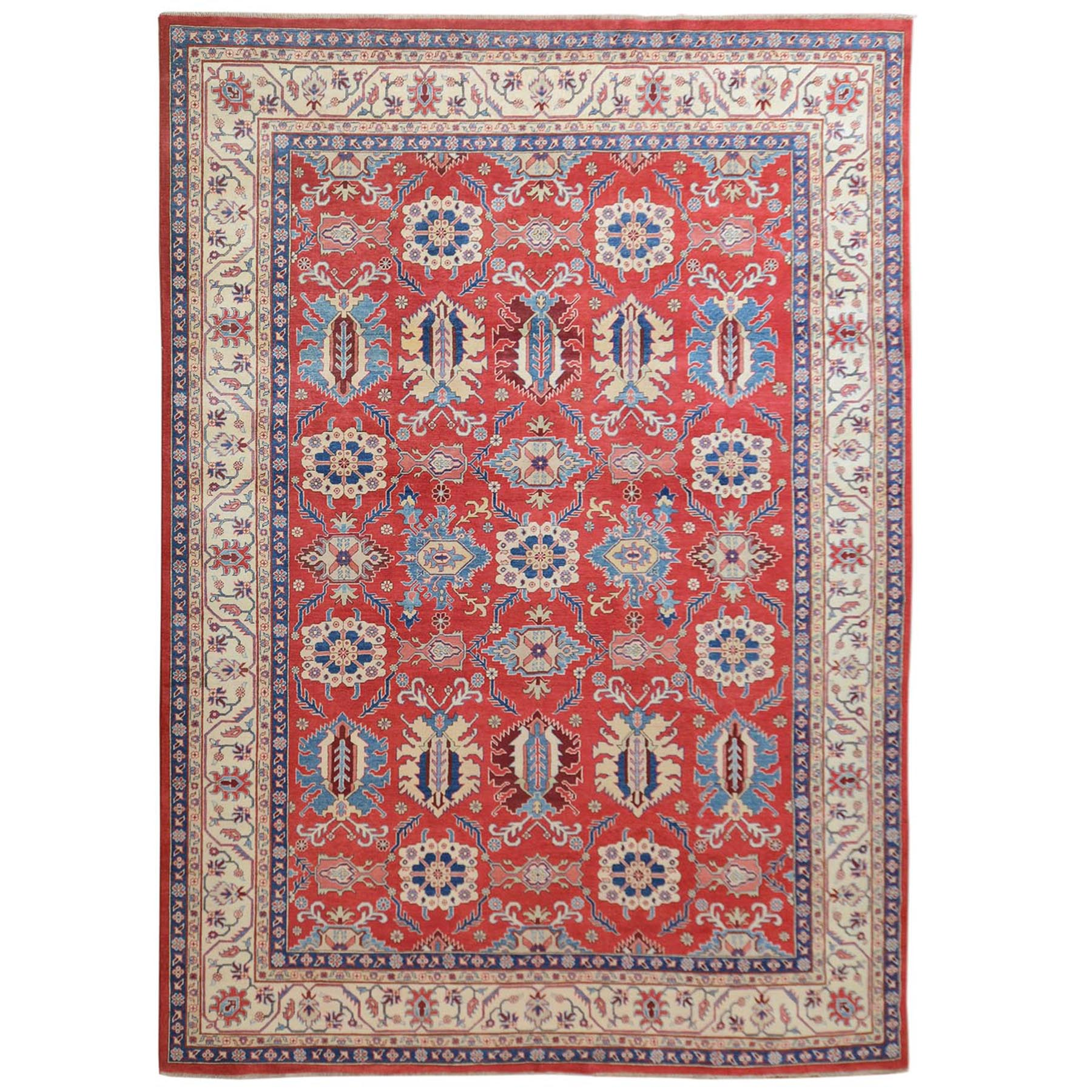 "9'10""X13'9"" Red Special Kazak All Over Design Pure Wool Hand Knotted Oriental Rug moae70bd"