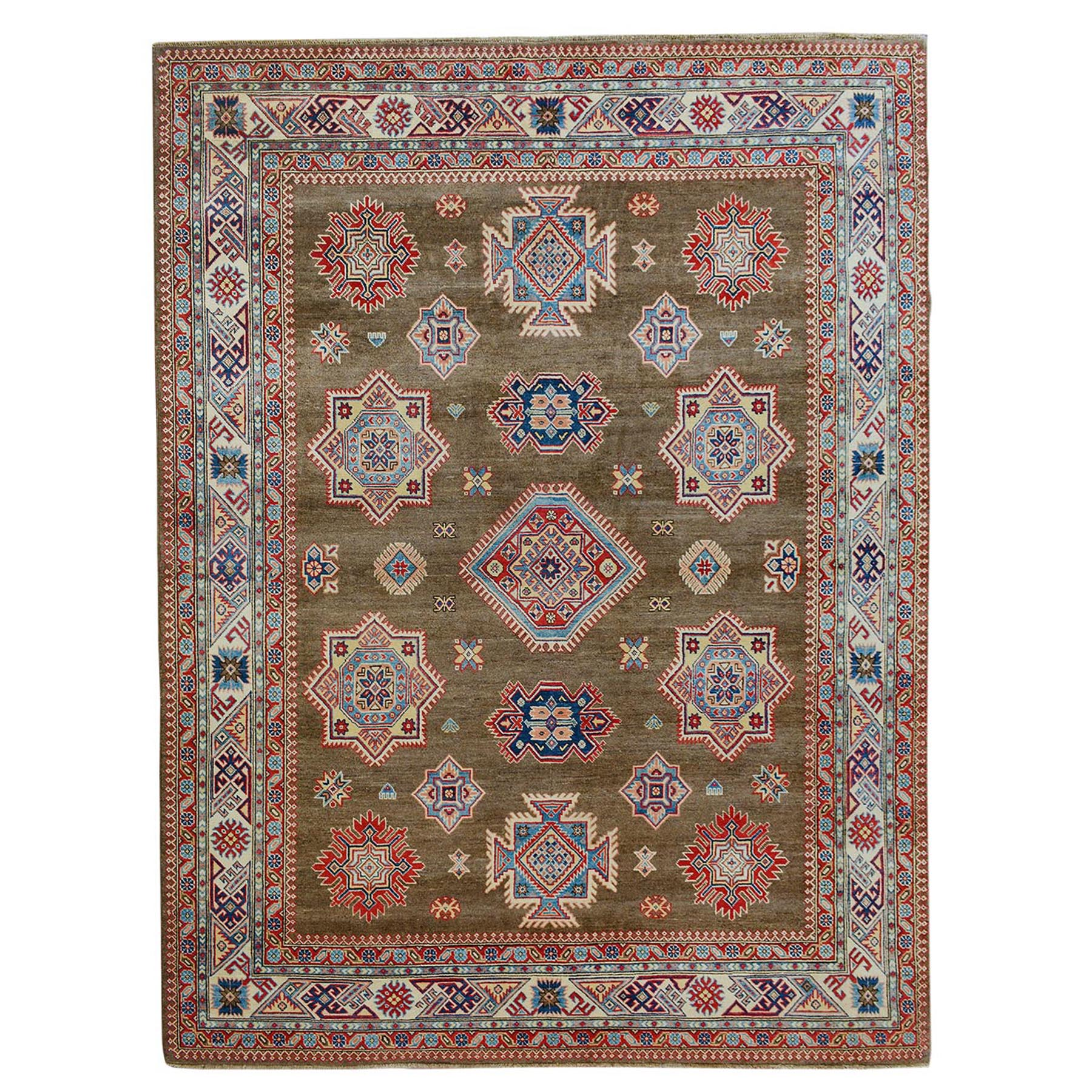 "8'X9'6"" Brown Special Kazak All Over Design Pure Wool Hand Knotted Oriental Rug moae70cb"