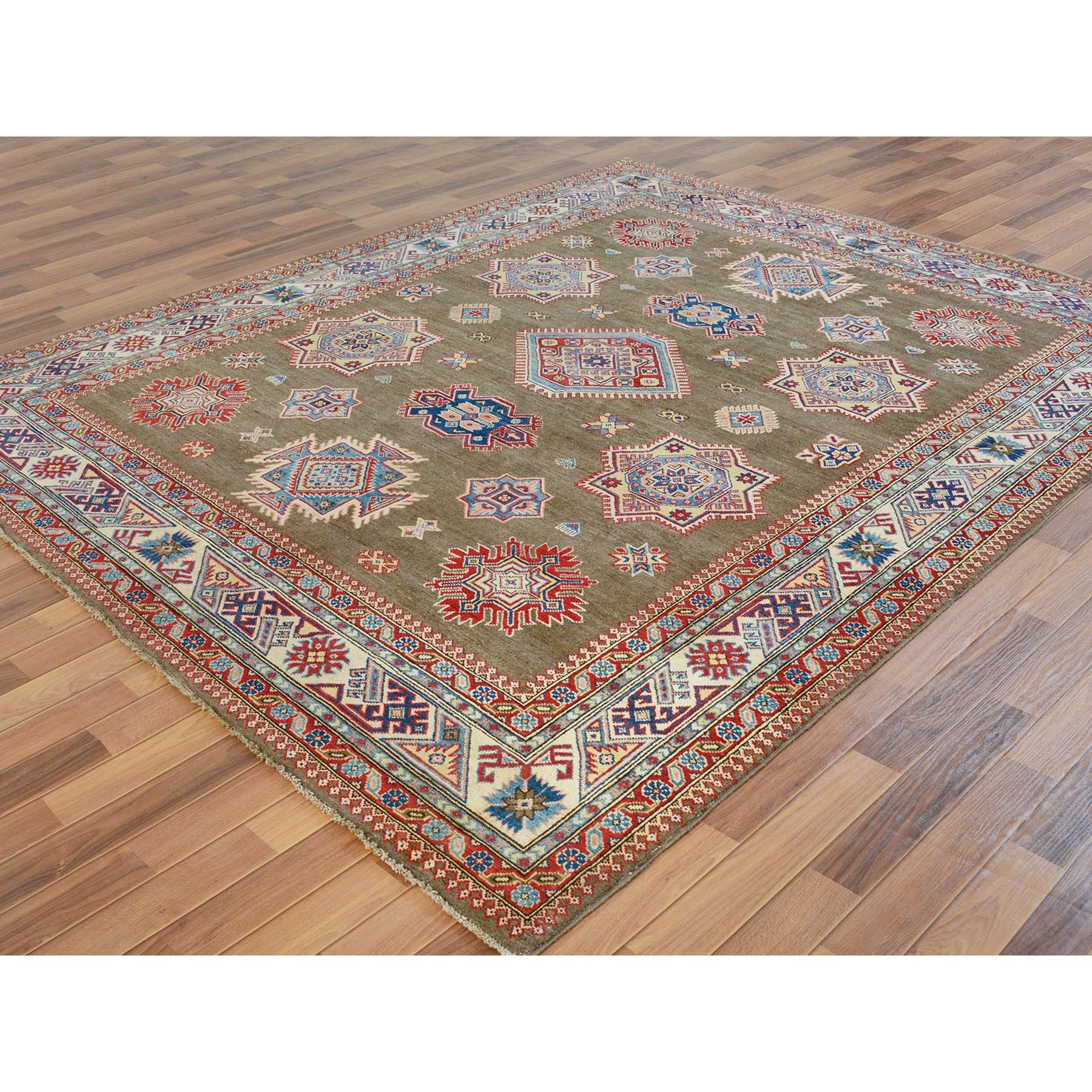 8-x9-6  Brown Special kazak All Over Design Pure wool Hand Knotted Oriental Rug