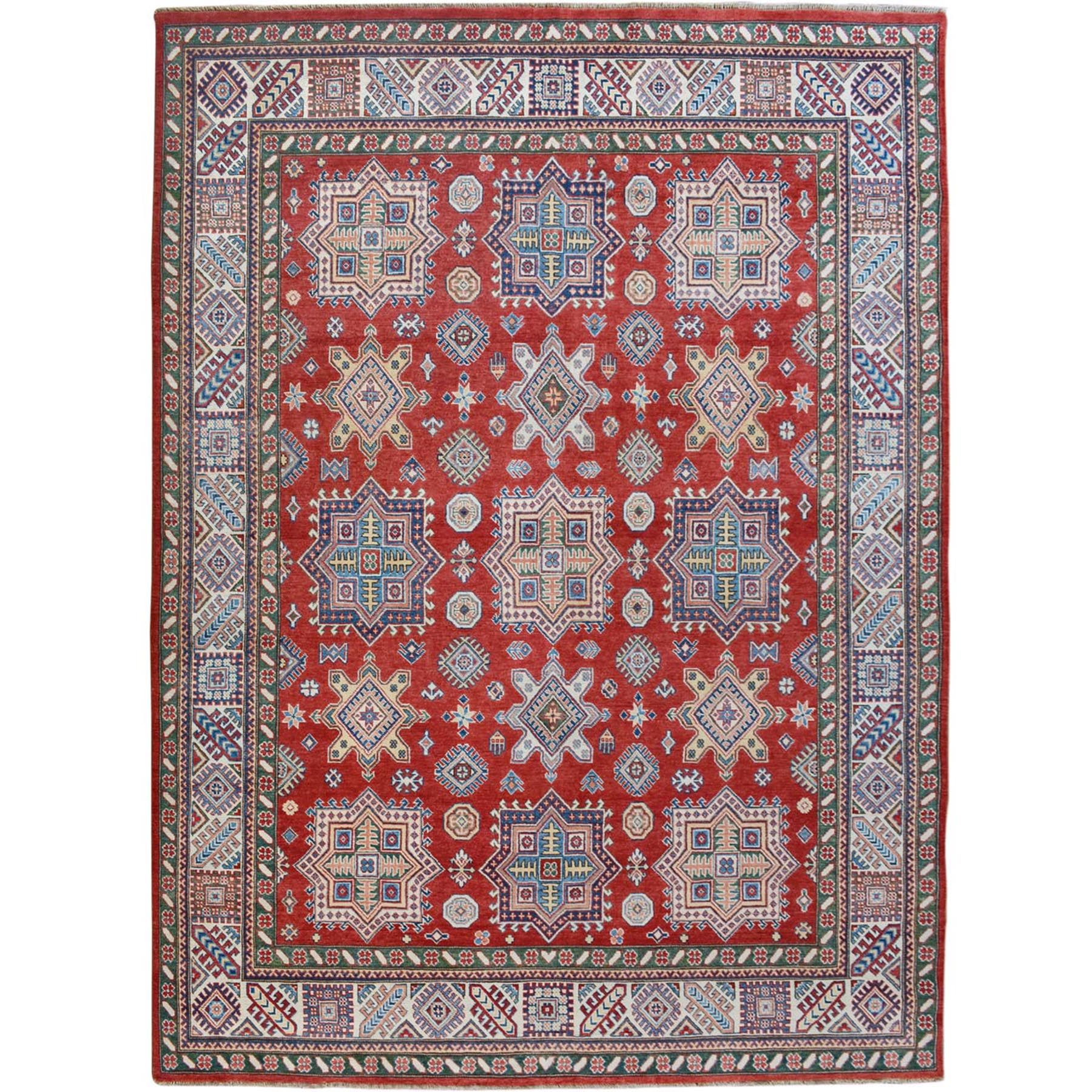 8'X10' Red Special Kazak Tribal Design Pure Wool Hand Knotted Oriental Rug moae70cd
