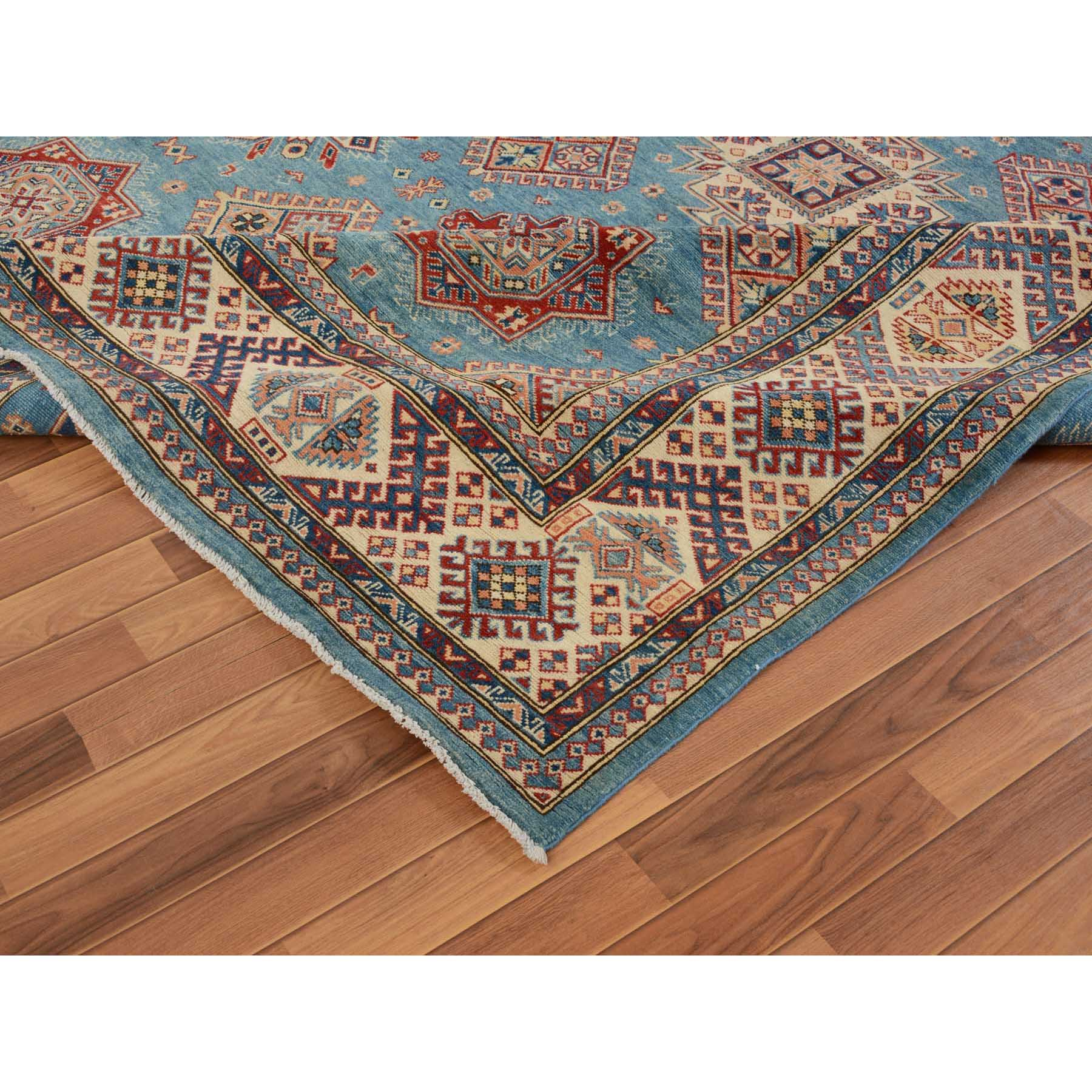 9-1 x11-5  Blue Special Kazak Geometric Design Pure Wool Hand Knotted Oriental Rug
