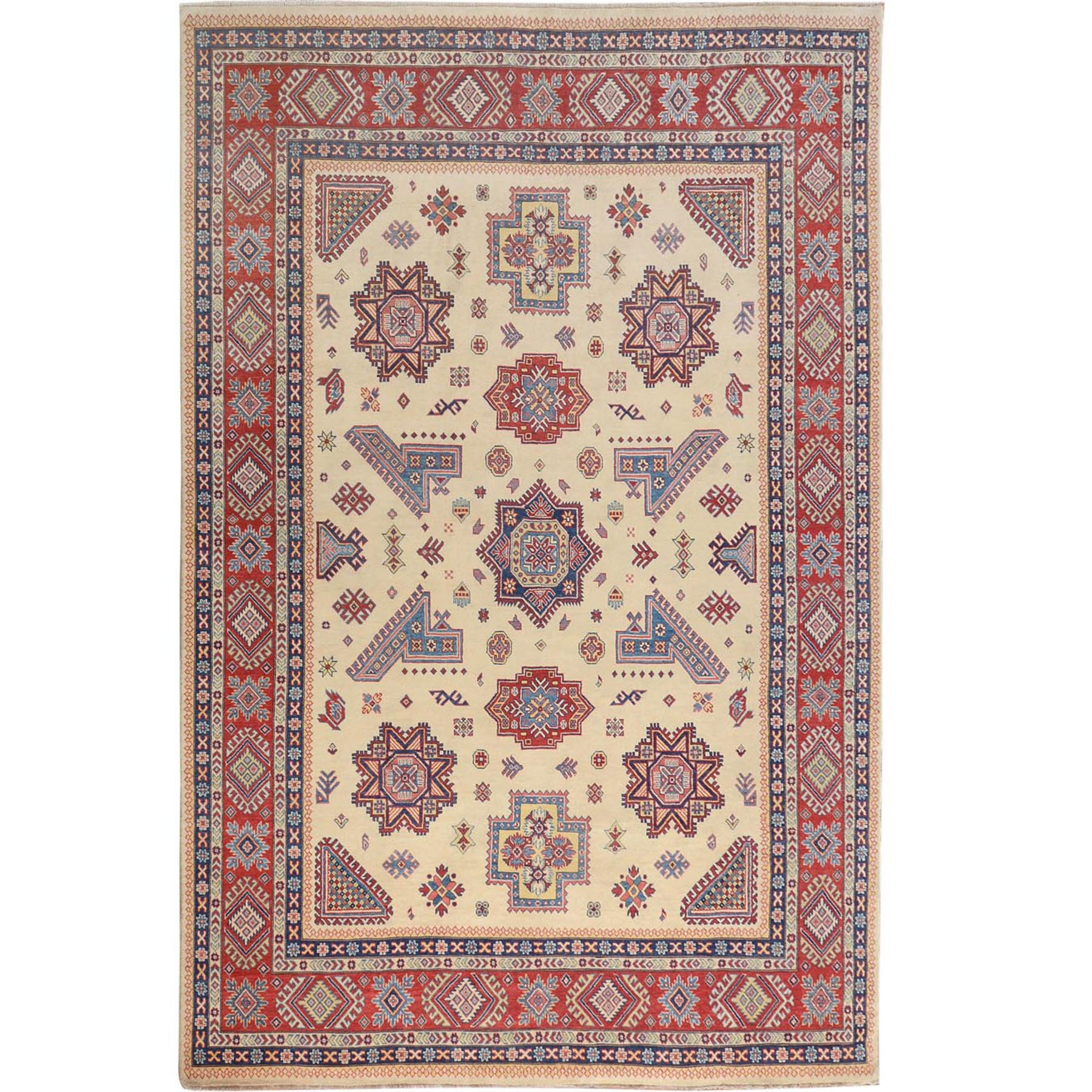 """8'8""""X12' Ivory Special Kazak Geometric Design Pure Wool Hand Knotted Oriental Rug moae70ee"""