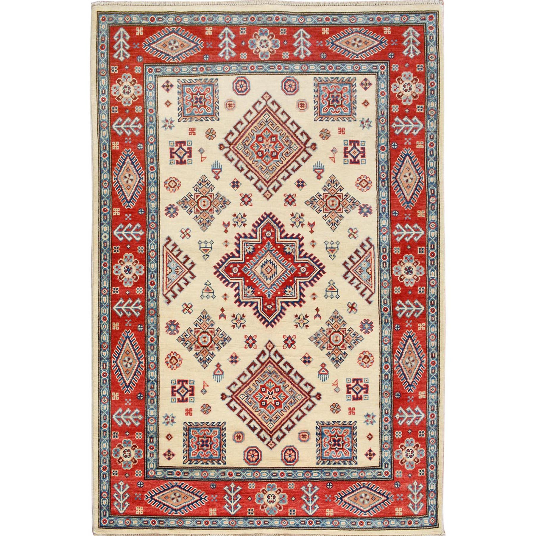 """4'X5'10"""" Ivory Special Kazak Tribal Design Pure Wool Hand Knotted Oriental Rug moae7067"""
