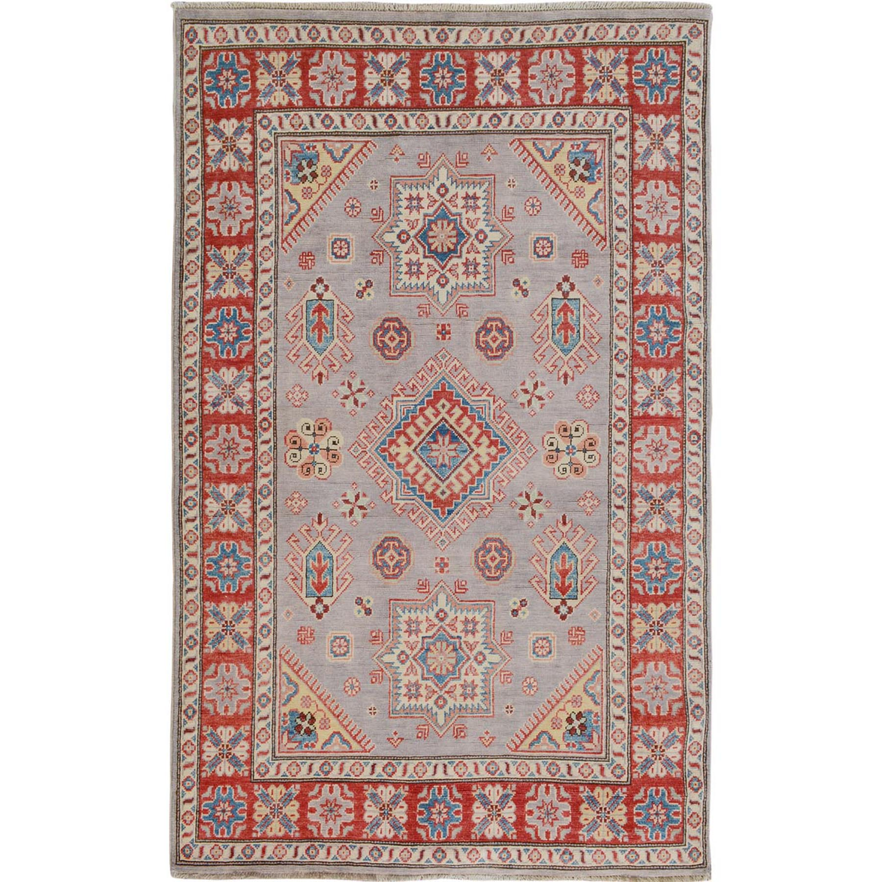 """3'10""""X6' Gray Special Kazak Geometric Design Pure Wool Hand Knotted Oriental Rug moae7069"""