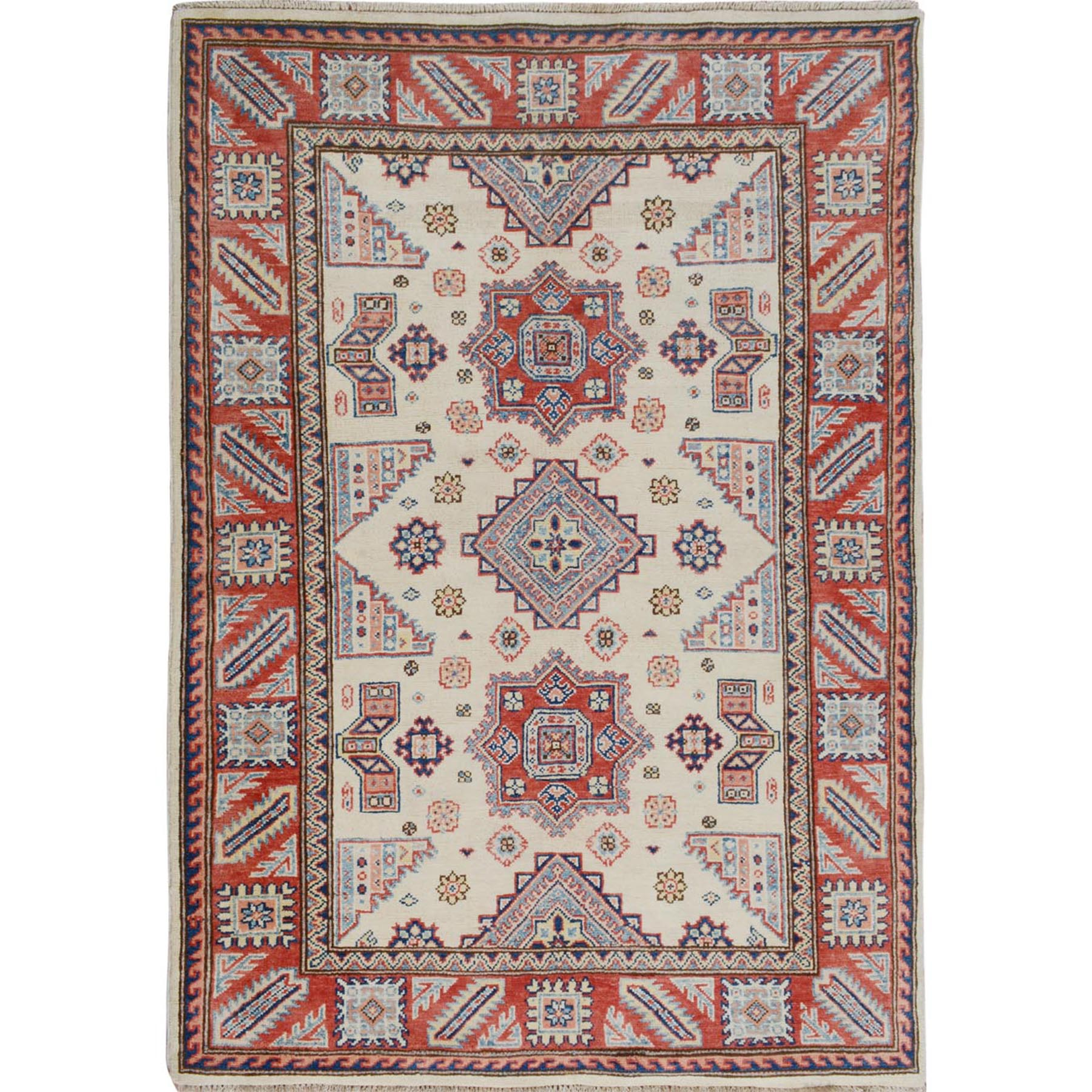 """4'X5'6"""" Ivory Special Kazak Tribal Design Pure Wool Hand Knotted Oriental Rug moae7070"""