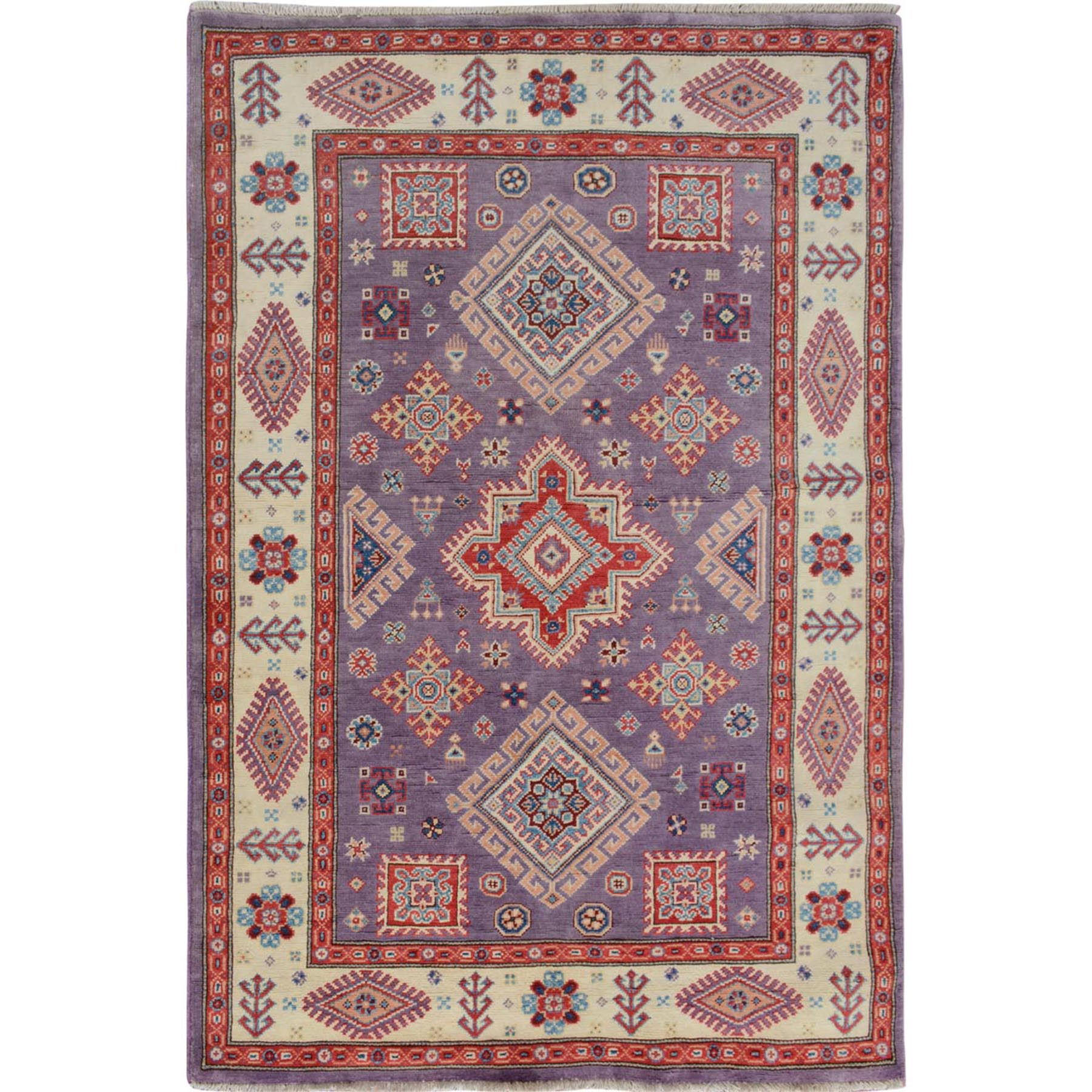 "4'X5'8"" Purple Special Kazak Geometric Design Pure Wool Hand Knotted Oriental Rug moae707d"