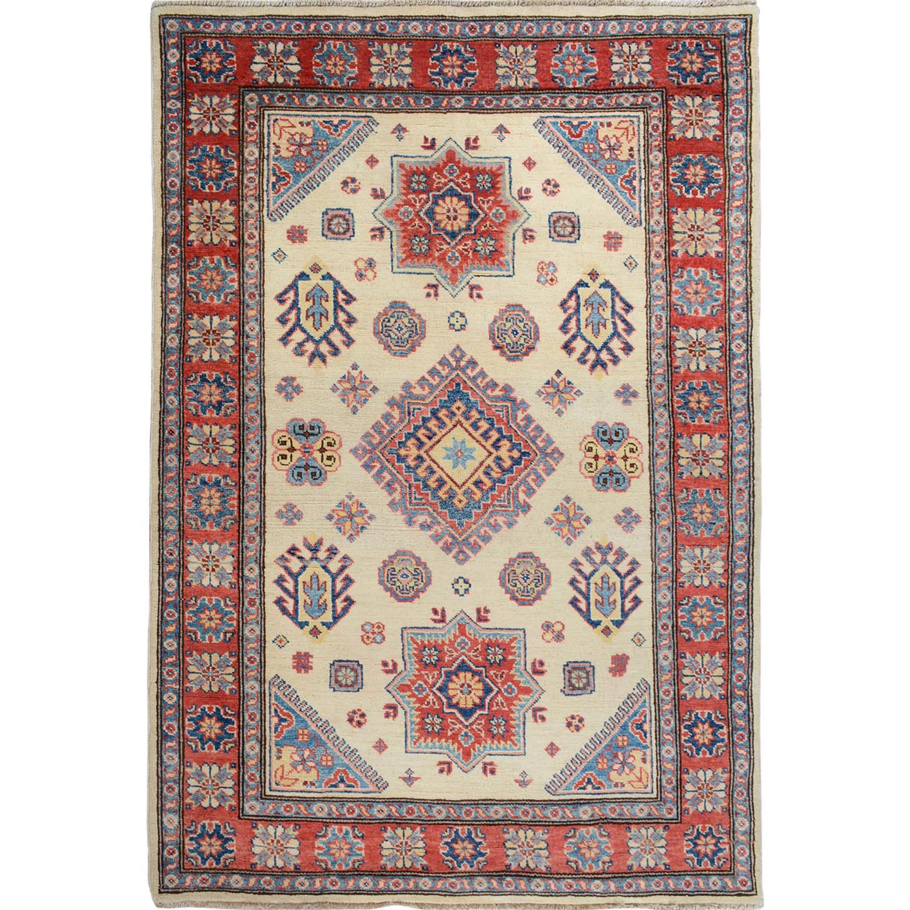 4'X6' Ivory Special Kazak With Medallion Pure Wool Hand Knotted Oriental Rug moae707e