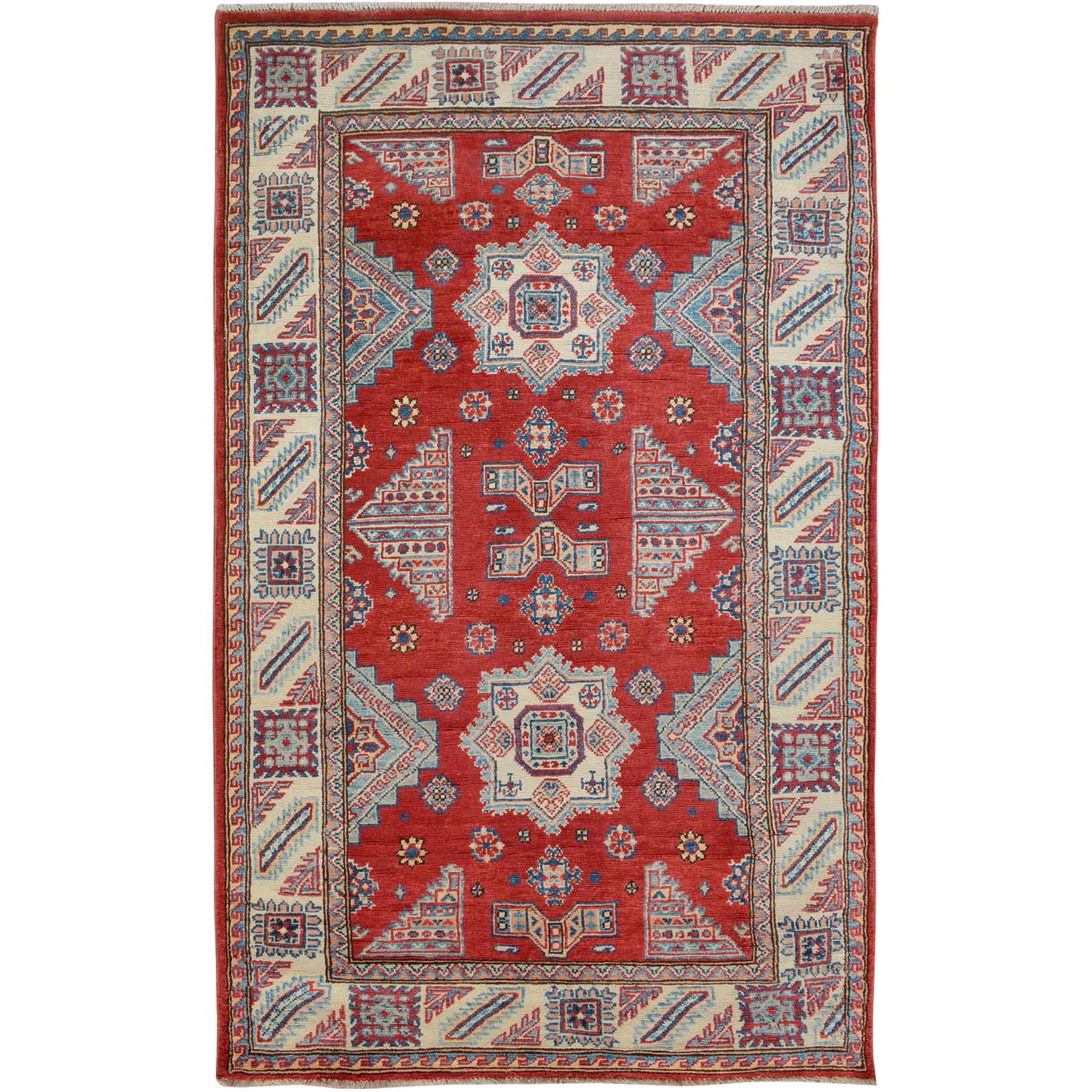 """3'9""""X6'4"""" Red Special Kazak Tribal Design Pure Wool Hand Knotted Oriental Rug moae7080"""