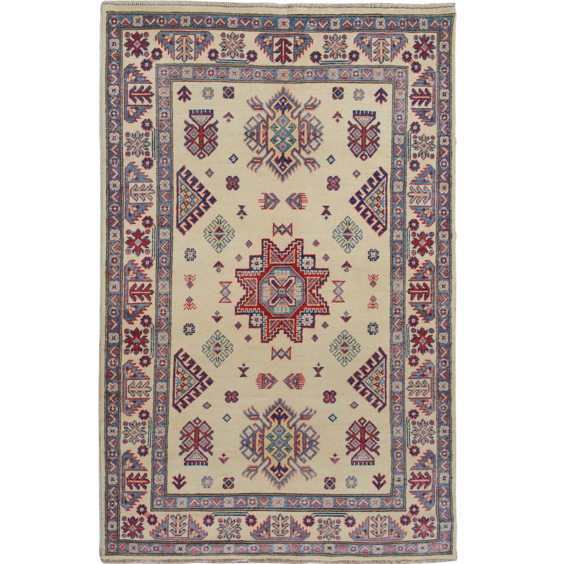 """3'10""""X6' Ivory Special Kazak Geometric Design Pure Wool Hand Knotted Oriental Rug moae708a"""