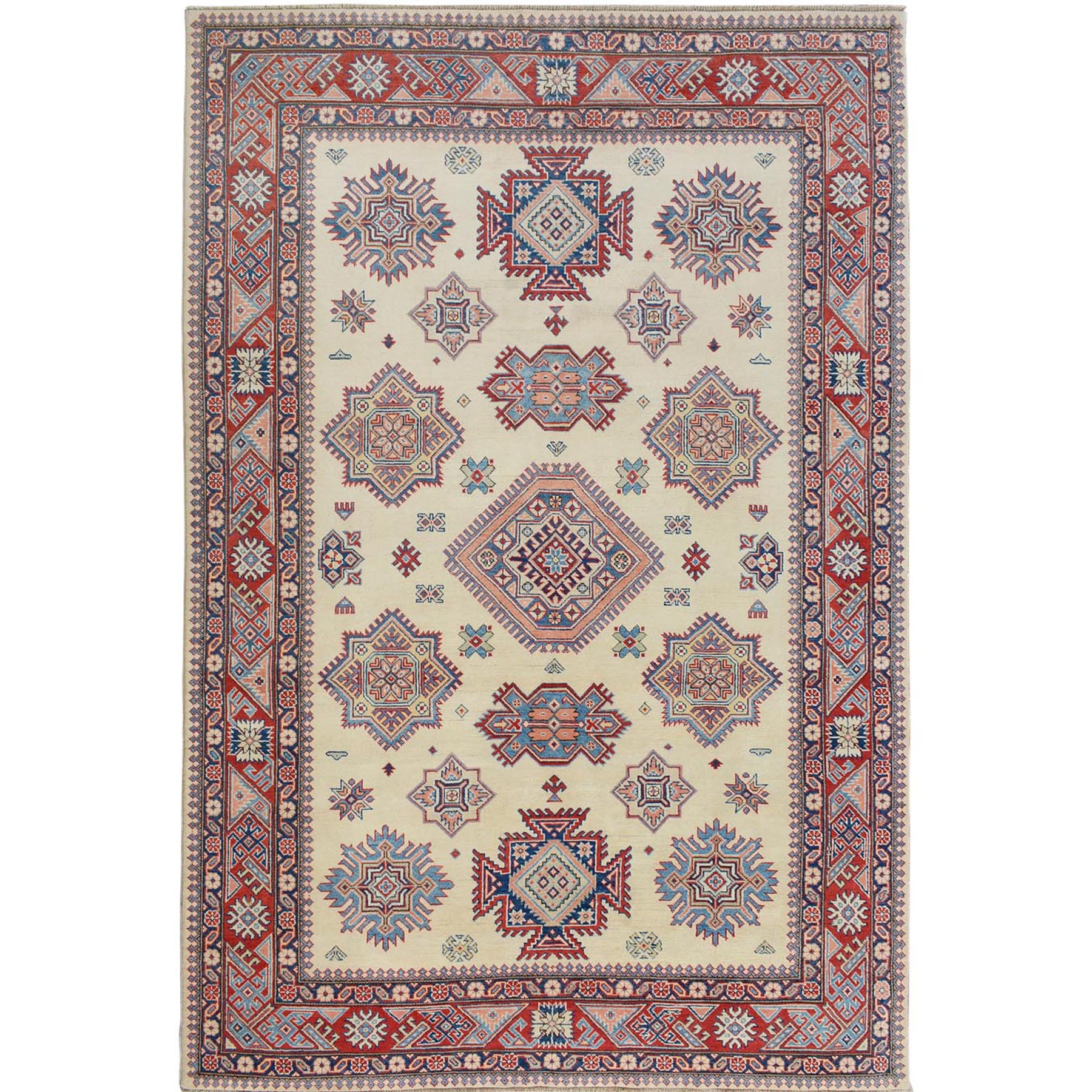 """6'4""""x9'5"""" Ivory Special Kazak Geometric Design Pure Wool Hand Knotted Oriental Rug"""