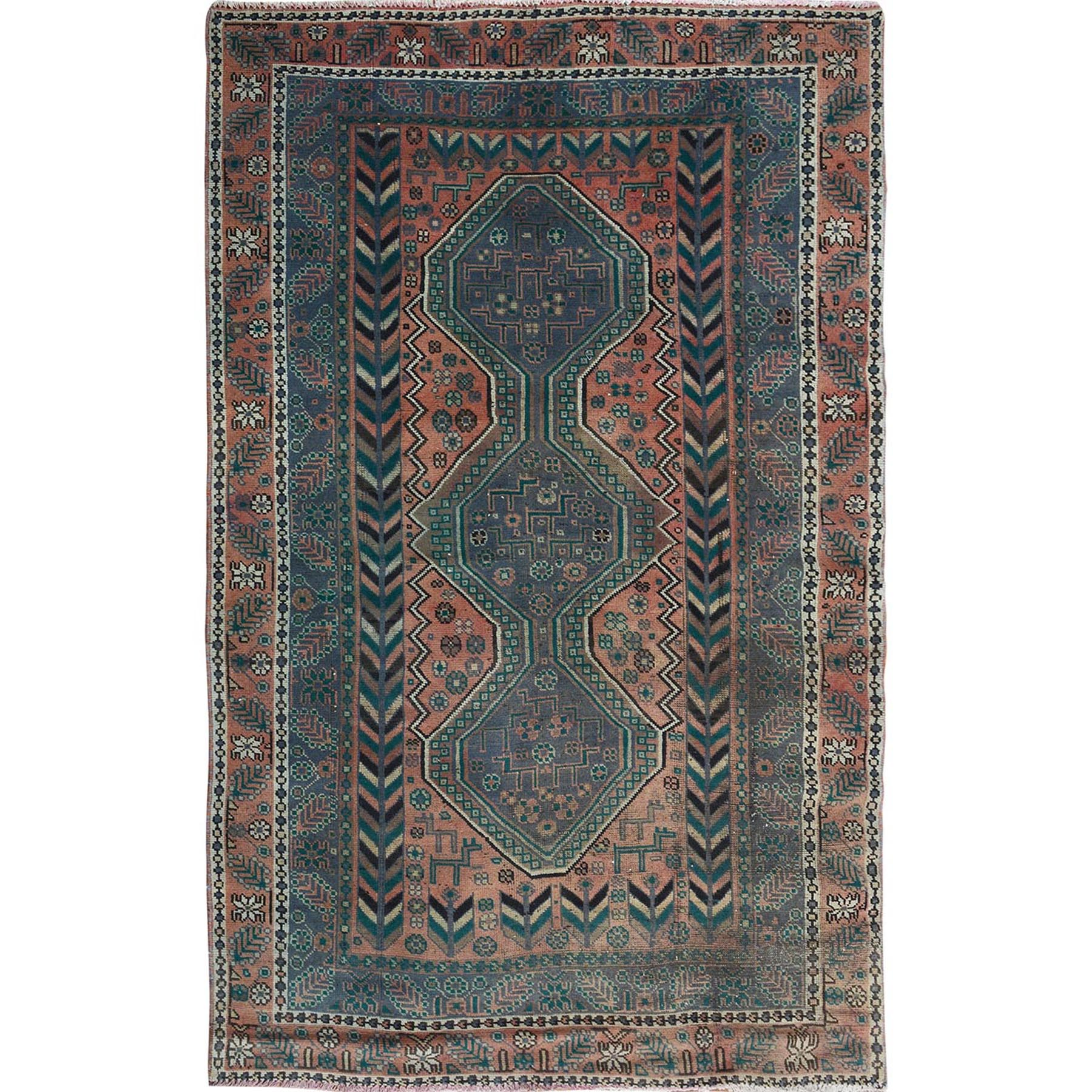 "4'8""X7'2"" Natural Colors Old And Worn Down Persian Shiraz Hand Knotted Oriental Rug moae7aae"