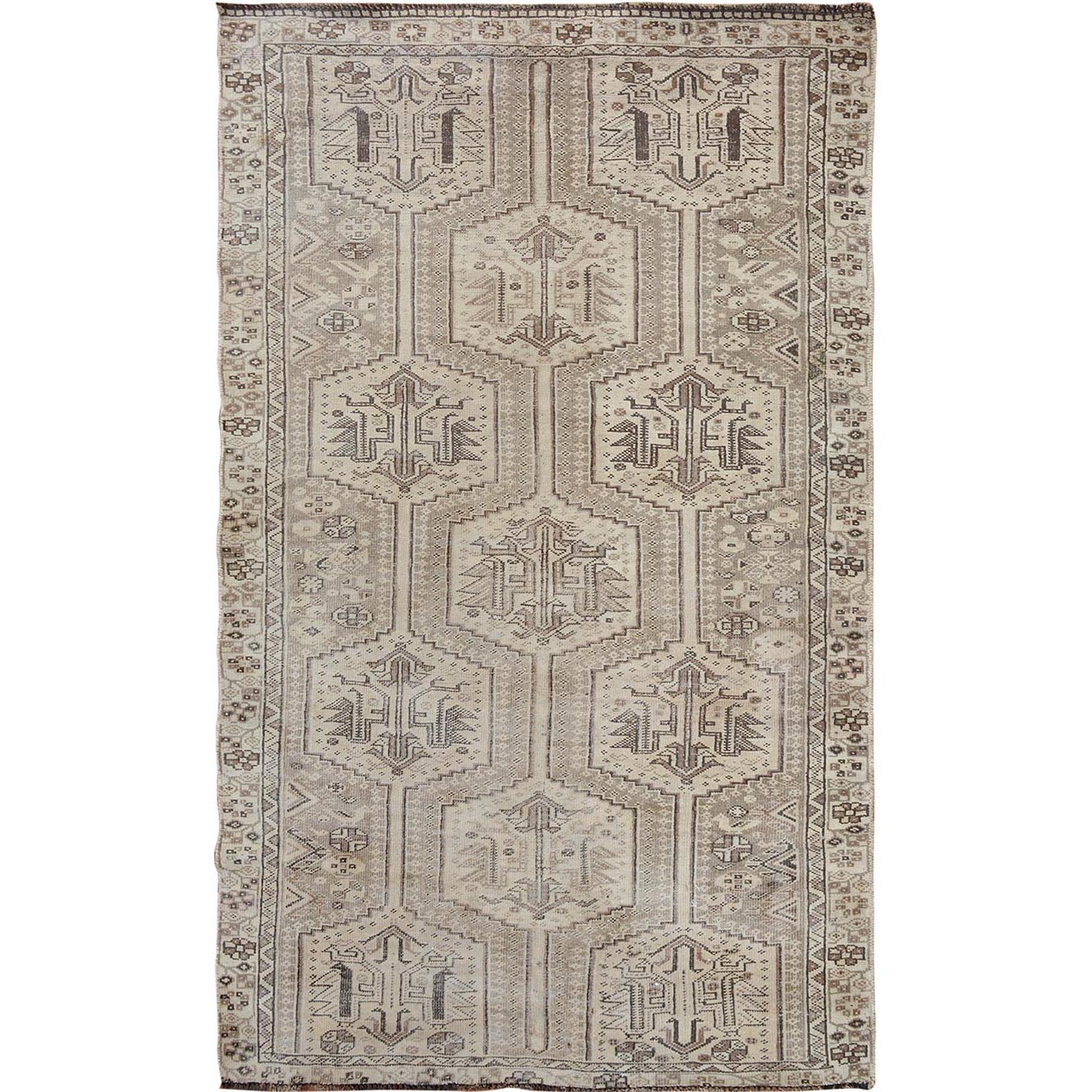 "4'9""X7'4"" Earth Tones Colors Vintage And Worn Down Persian Shiraz Hand Knotted Oriental Rug moae7aa6"