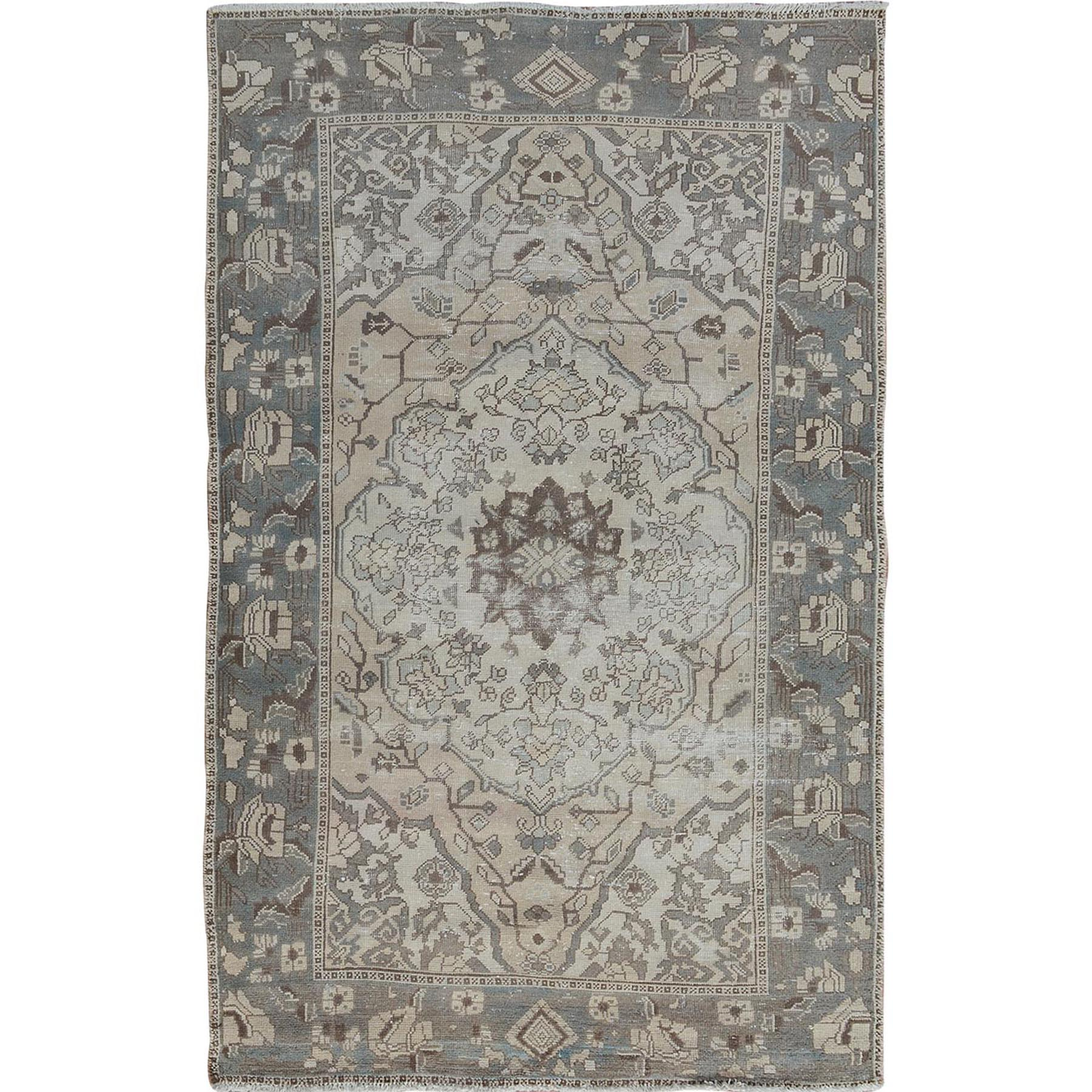 """4'2""""X6'8"""" Vintage And Worn Down Persian Bakhtiari Pure Wool Hand Knotted Oriental Rug moae7aa8"""