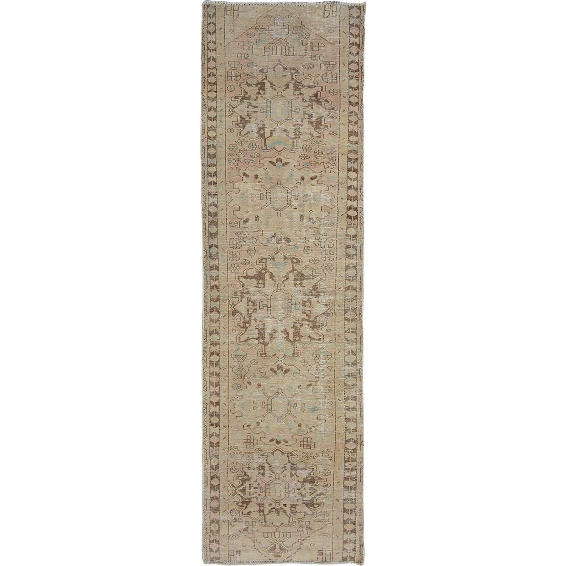 """3'X9'9"""" Natural Colors Old And Worn Down Persian Heriz Runner Pure Wool Hand Knotted Oriental Rug moae7ab9"""