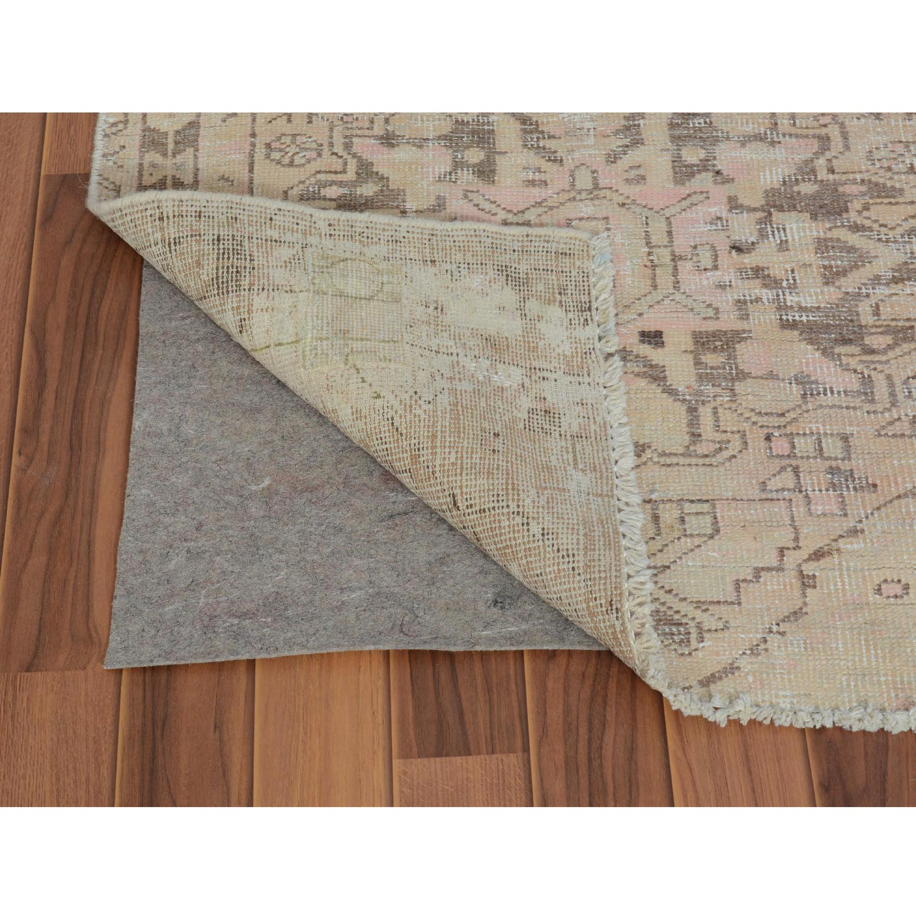 3-x9-9  Natural Colors Old And Worn Down Persian Heriz Runner Pure Wool Hand Knotted Oriental Rug