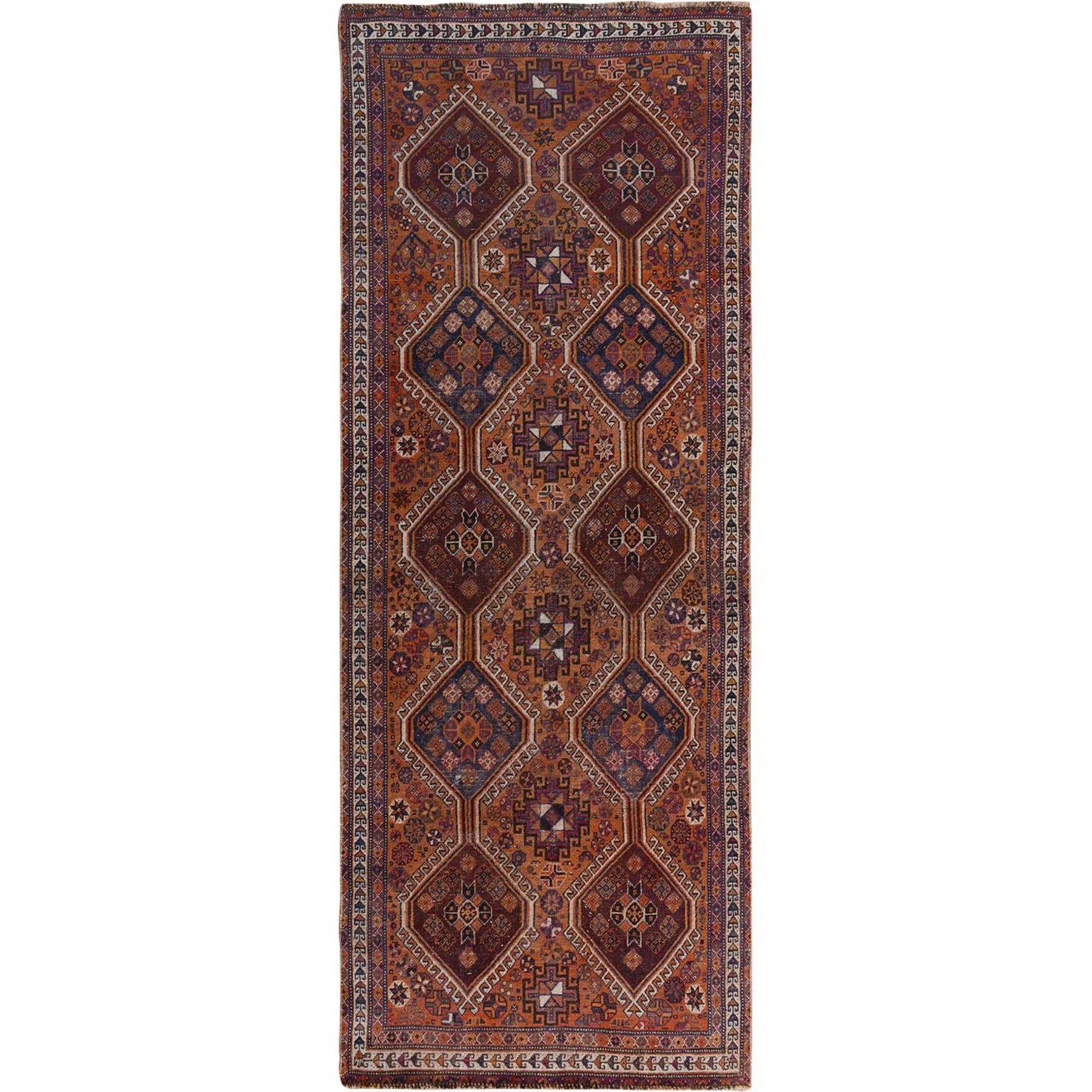 """3'10""""X9'1"""" Natural Colors Wide Runner Vintage And Worn Down Persian Shiraz Hand Knotted Oriental Rug moae7acd"""