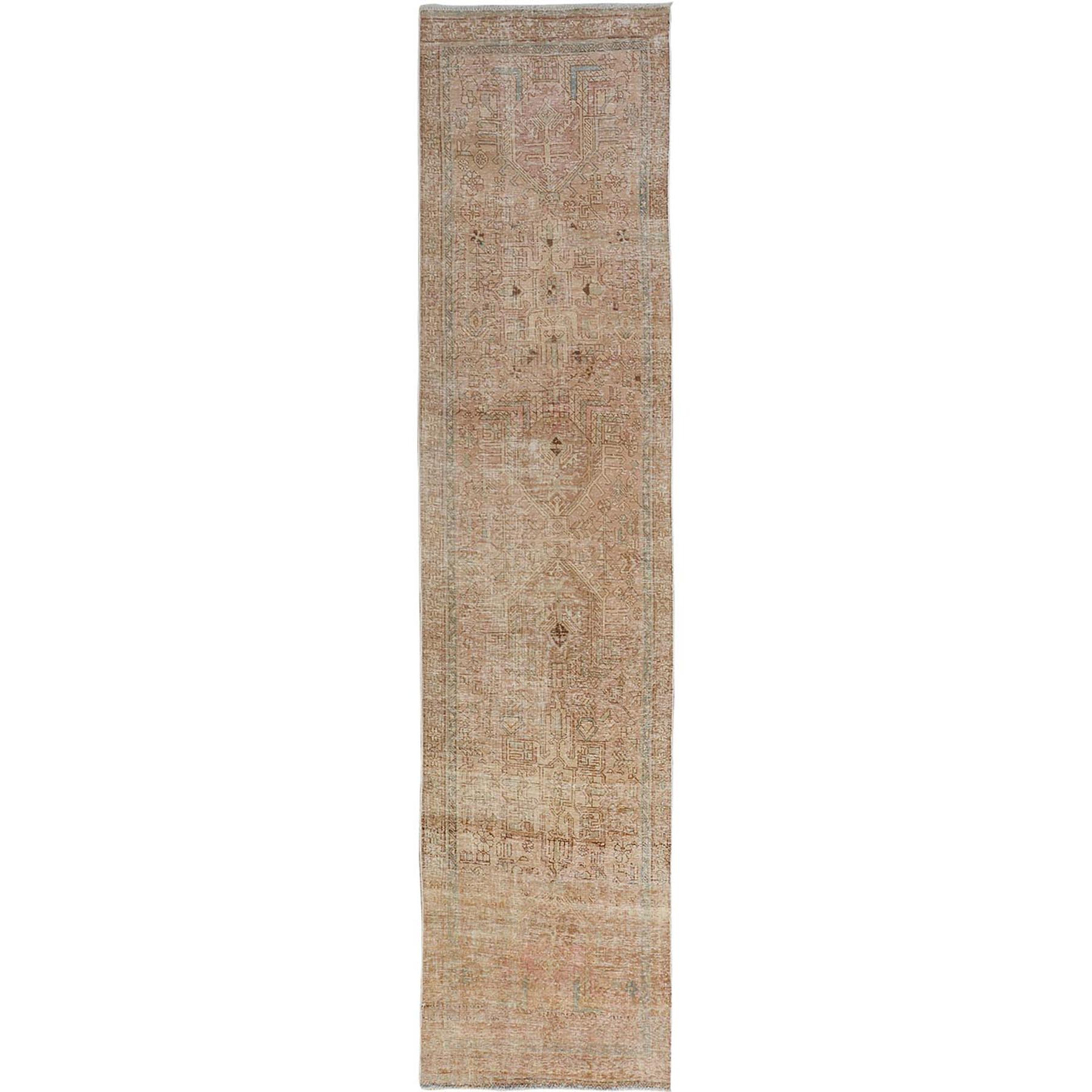 "3'1""X12'6"" Distressed Vintage And Worn Down Karajeh Hand Knotted Runner Bohemian Rug moae7ada"