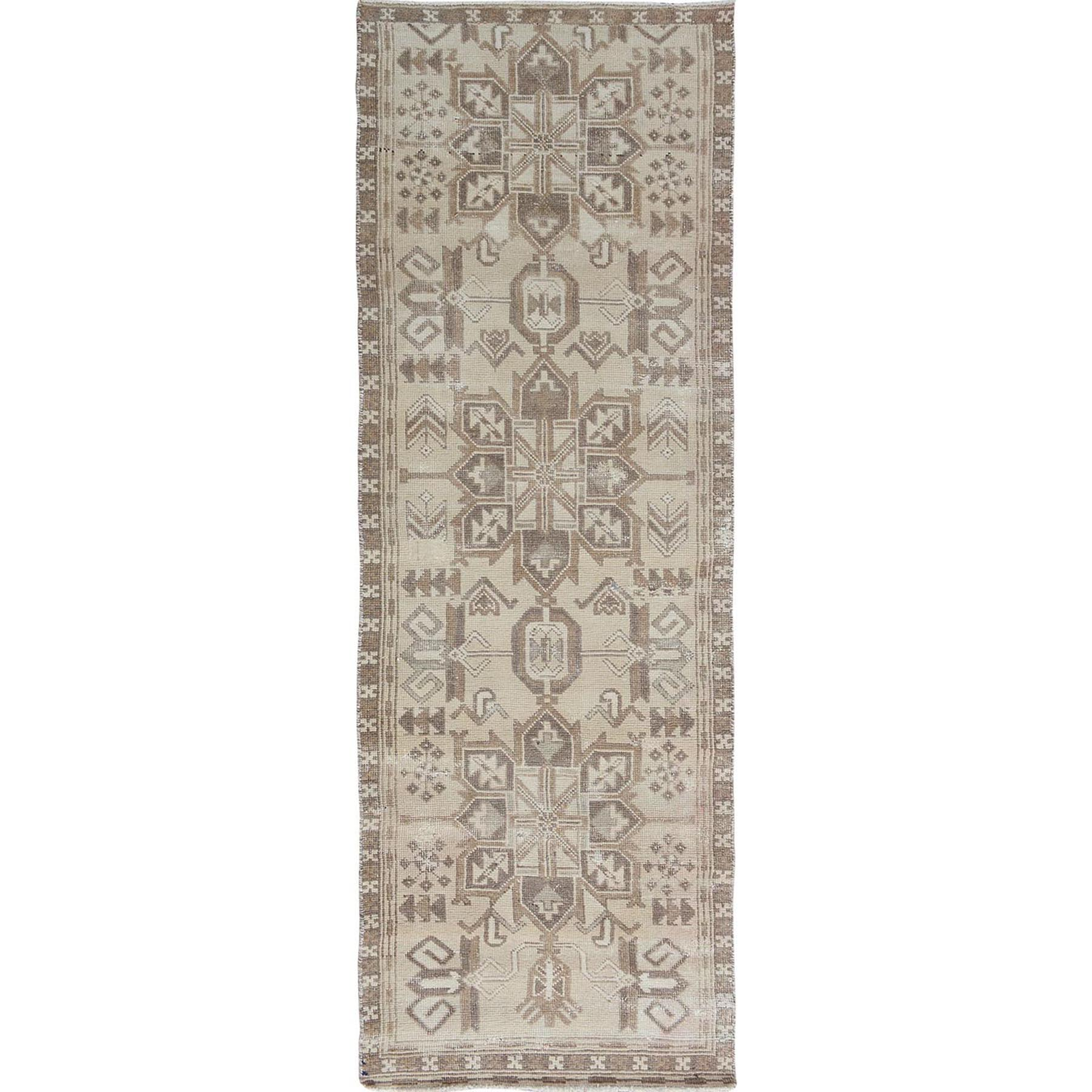"3'X9'1"" Natural Colors Old And Worn Down Persian Heriz Hand Knotted Runner Oriental Rug moae7ae0"