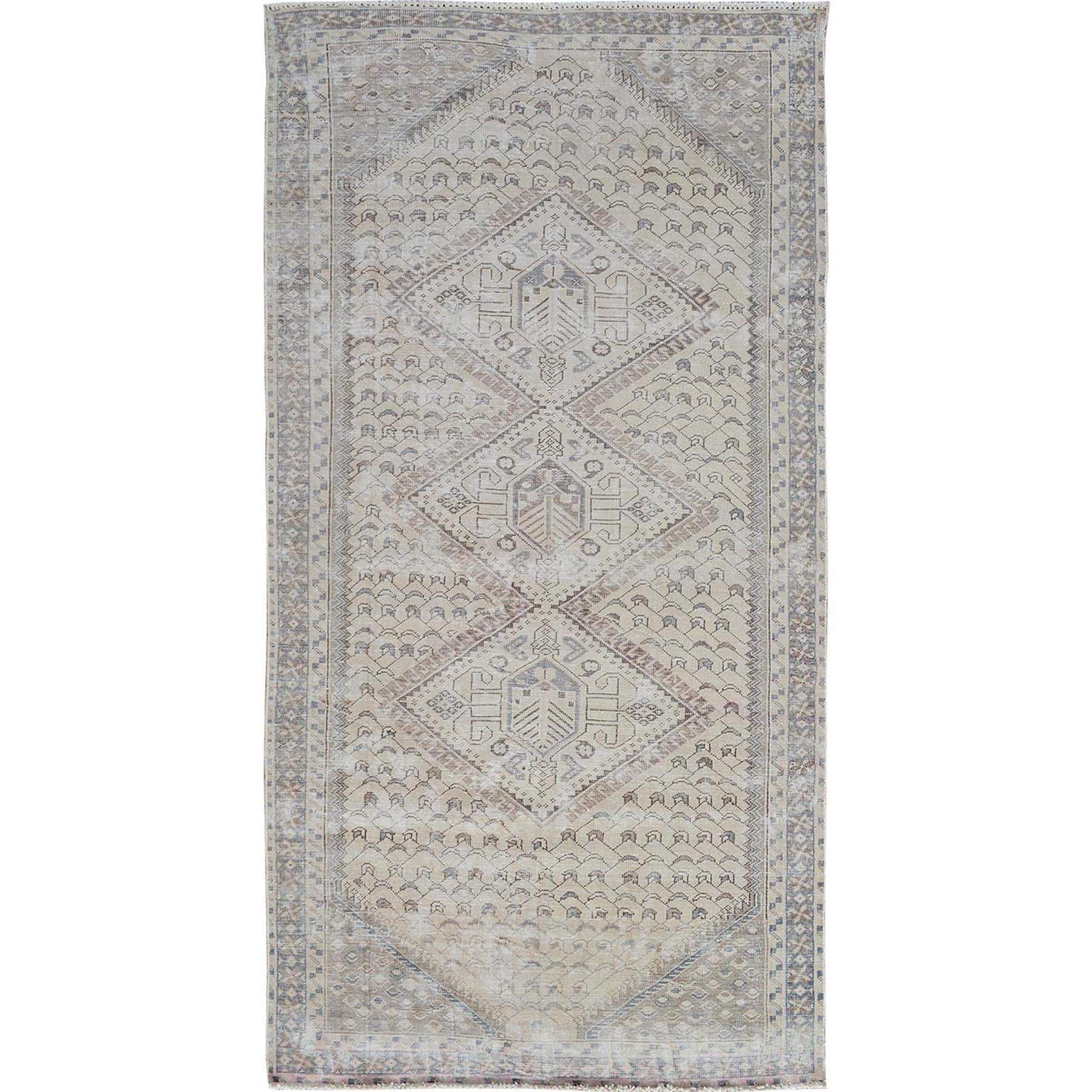 "5'X9'7"" Natural Color Vintage And Worn Down Shiraz Runner Pure Wool Hand Knotted Oriental Rug moae7aea"