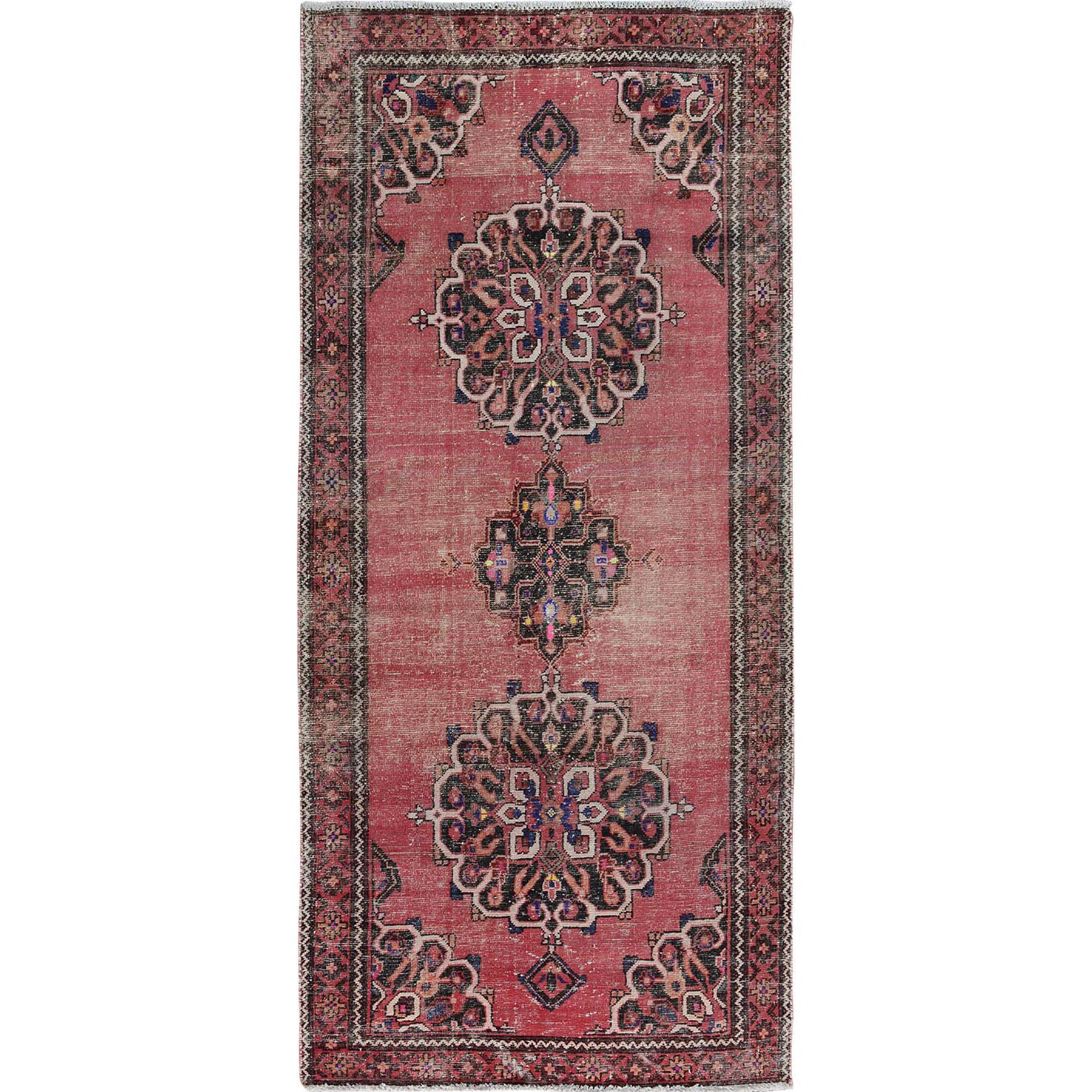 "4'X8'6"" Pink Old And Worn Down Persian Bakhtiari Pure Wool Hand Knotted Runner Oriental Rug moae7aee"