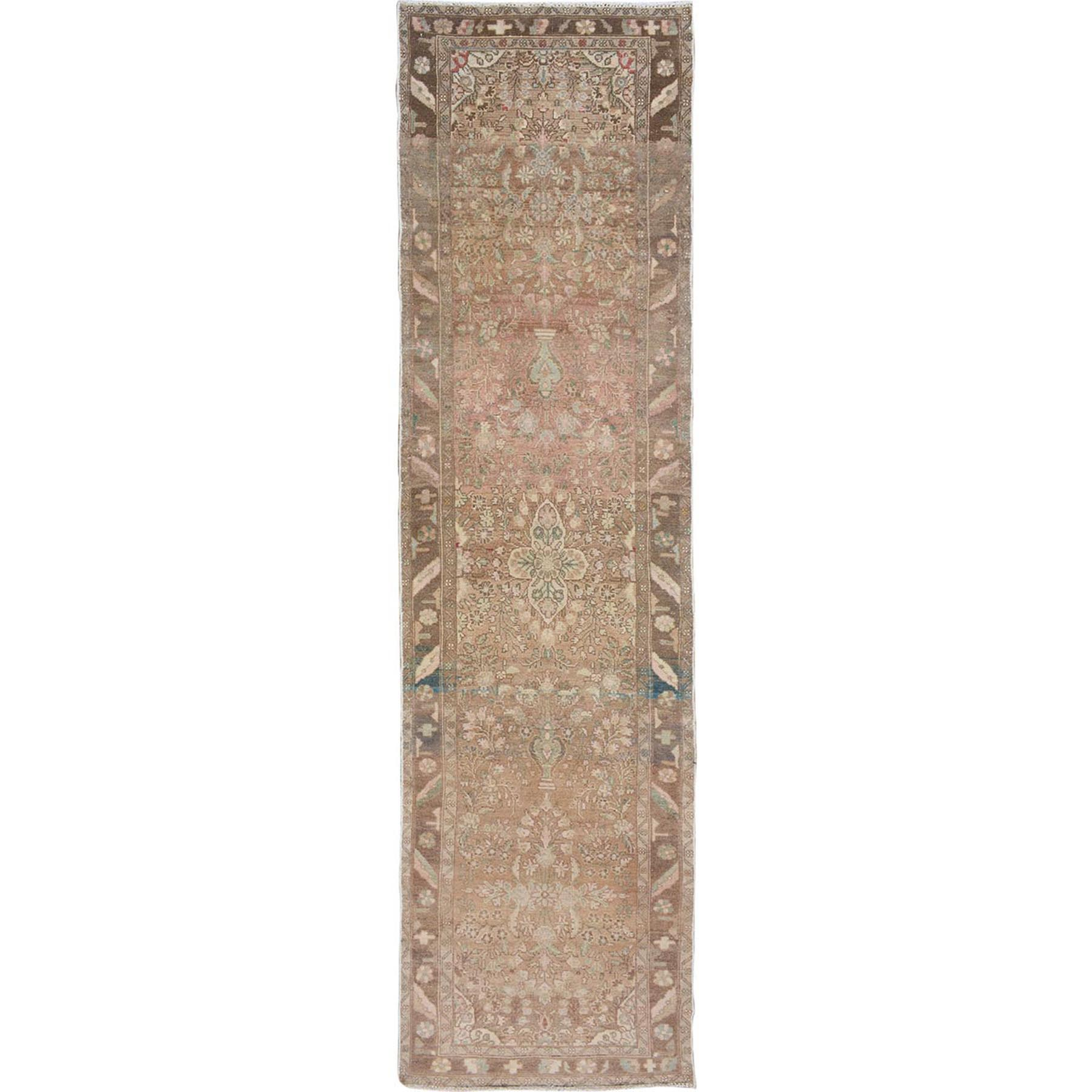 """3'X11'2"""" Earth Tones Old And Worn Down Persian Lilahan Hand Knotted Runner Oriental Rug moae7a67"""