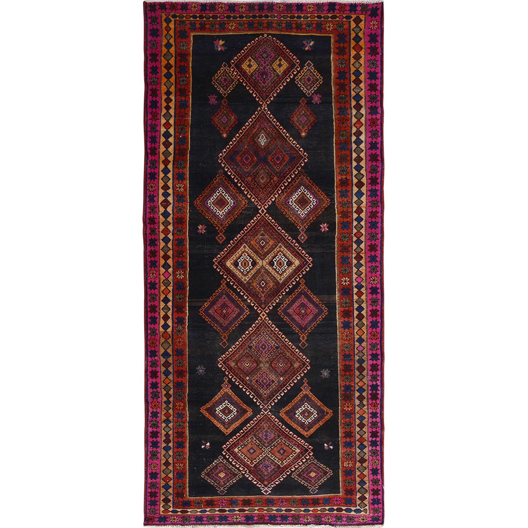 """5'X10'2"""" Colorful Vintage And Worn Down Persian Bakhtiari Hand Knotted Wide Runner Oriental Rug moae7a7c"""