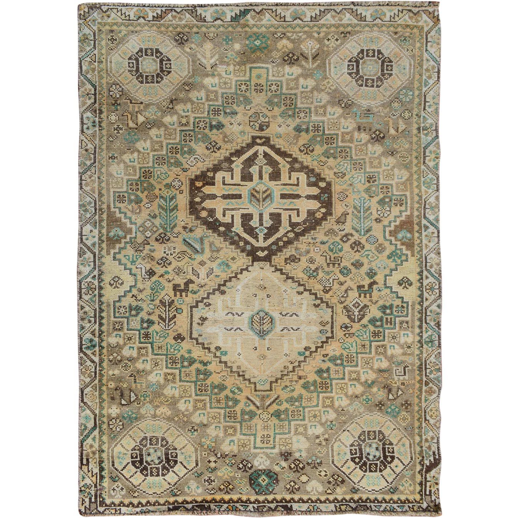 "3'9""X4'10"" Distressed Colors Old And Worn Down Persian Shiraz Hand Knotted Oriental Rug moae7a79"