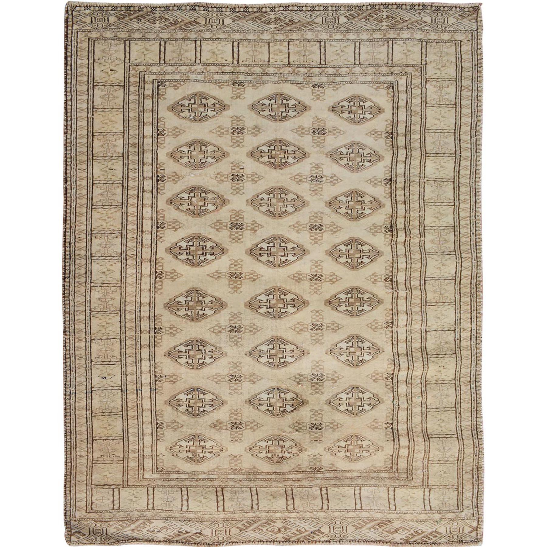 "3'10""X4'7"" Beige Washed Out Turkoman Bokara Worn Down Hand Knotted Oriental Rug moae7a80"