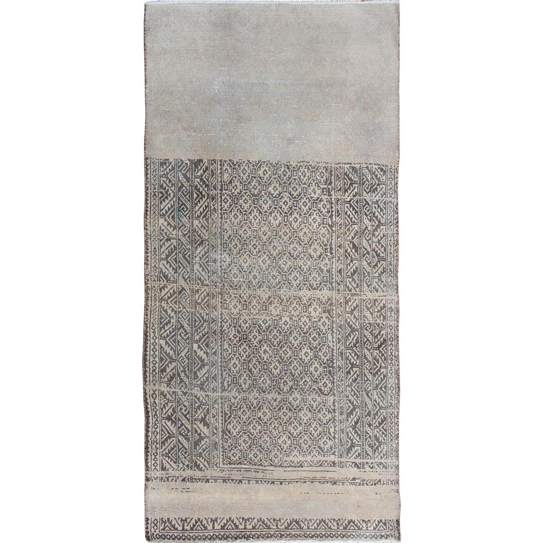"3'3""X6'4"" Abrash Faded Out And Worn Down Hamadan Runner Pure Wool Bohemian Rug moae7a9c"