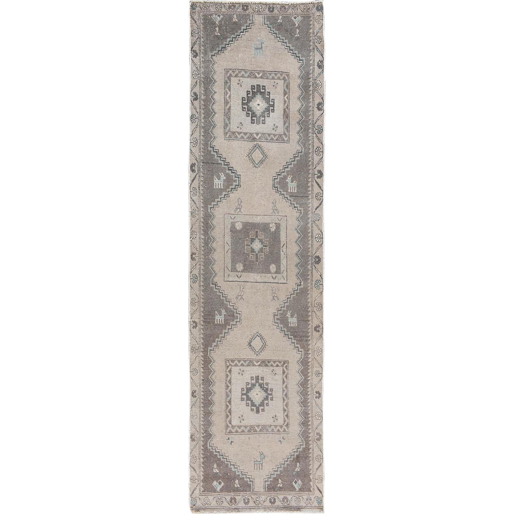 """2'7""""X9'5"""" Natural Colors Old And Worn Down Persian Hamadan Pure Wool Hand Knotted Oriental Rug moae7b08"""
