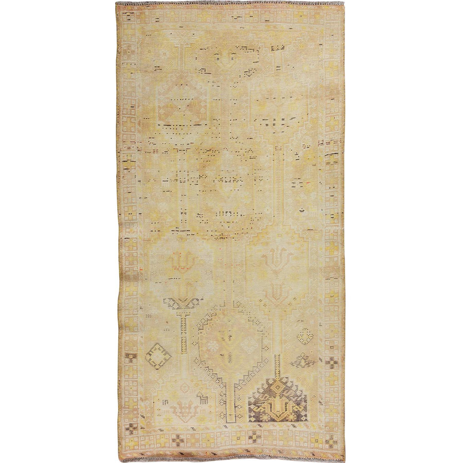 """3'10""""x7'2"""" Yellow Worn Down Persian Shiraz Pure Wool Wide Runner Hand Knotted Oriental Rug"""