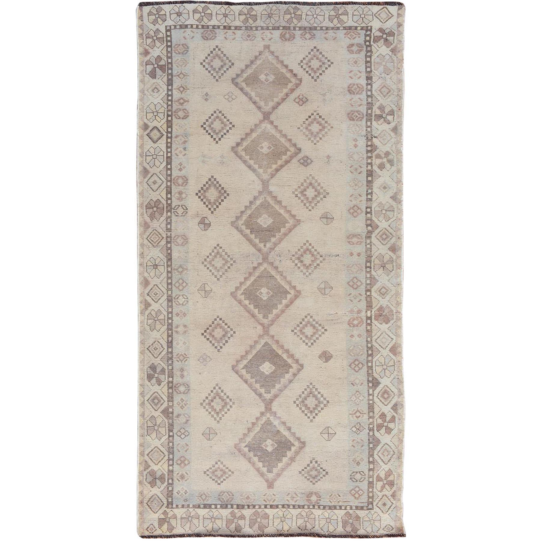"4'X7'10"" Distressed Colors Vintage And Worn Down Persian Shiraz Wide Runner Pure Wool Bohemian Rug moae7ba0"