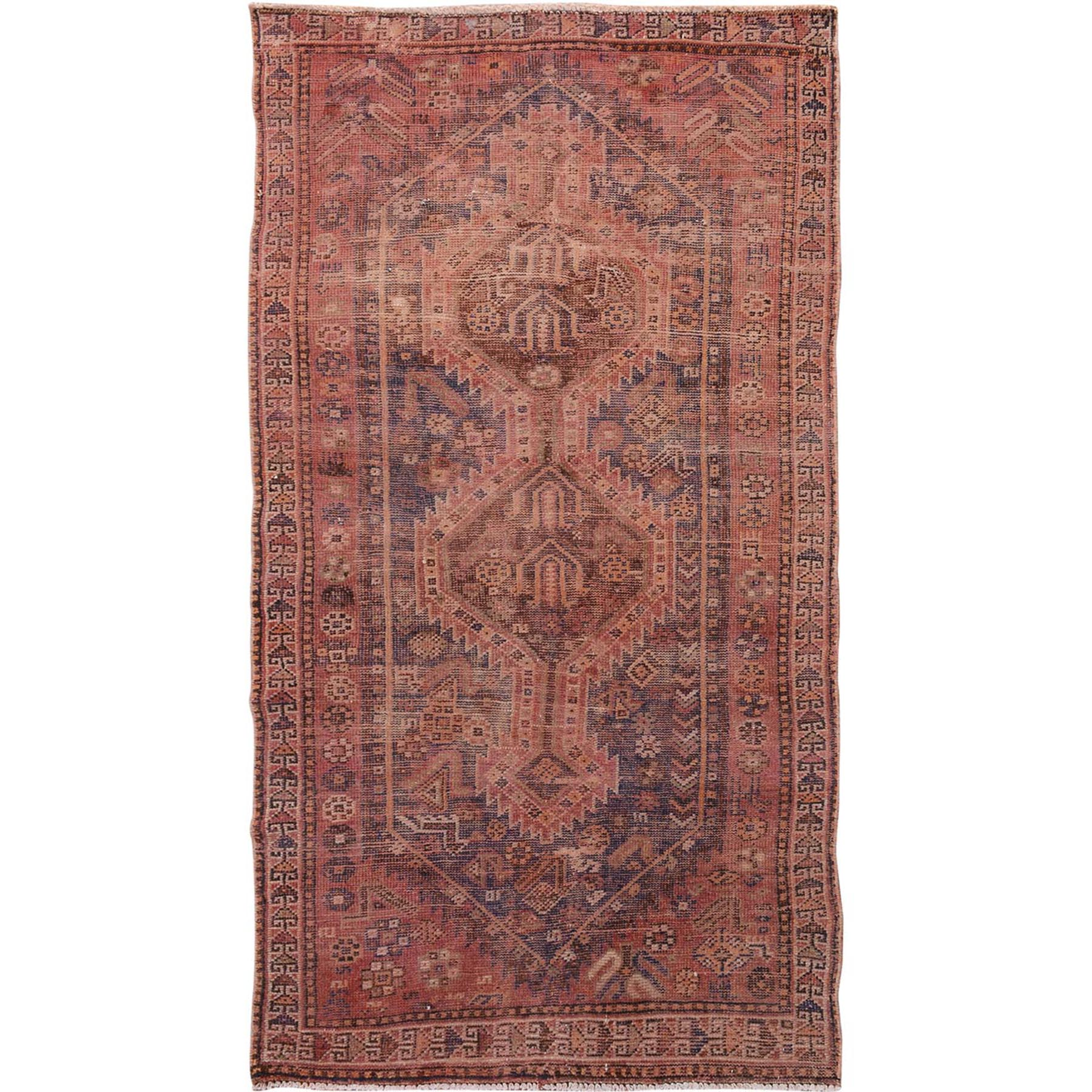 "3'10""X7'3"" Washed Out Old And Worn Down Persian Shiraz Pure Wool Hand Knotted Rug moae7baa"