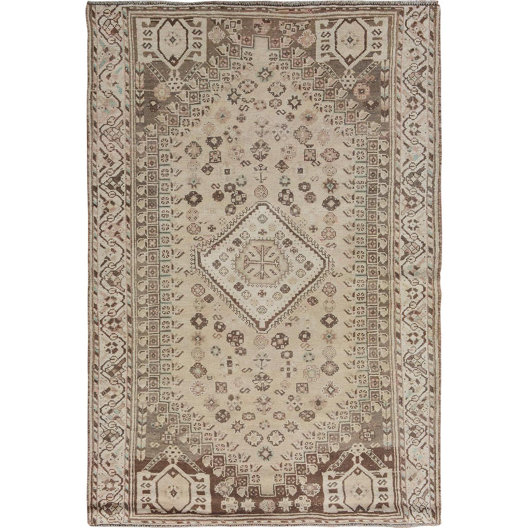"4'10""X6'9"" Natural Colors Vintage And Worn Down Persian Shiraz Pure Wool Hand Knotted Oriental Rug moae7bab"