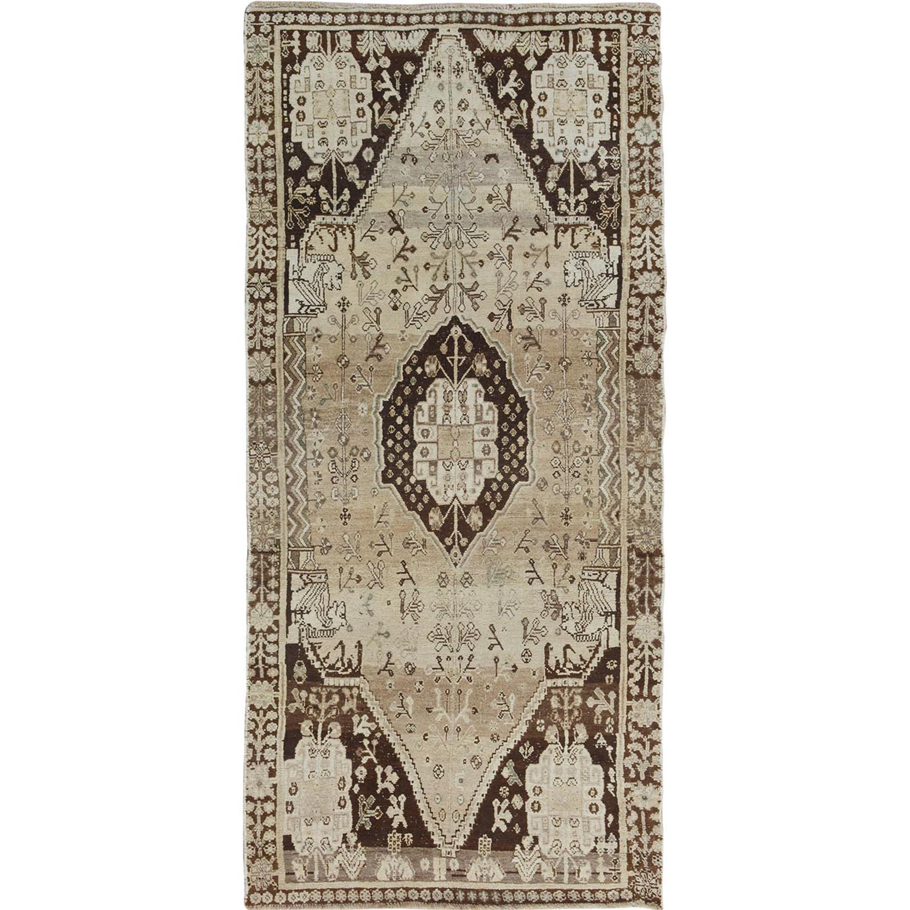 "3'8""X7'9""  Earth Tone Colors Old And Worn Down Persian Shiraz Wide Runner Hand Knotted Bohemian Rug moae7bac"
