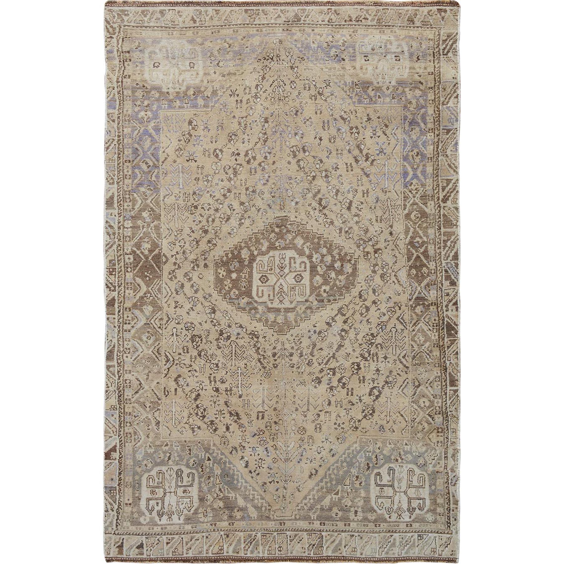 "4'4""X7'4"" Distressed Colors Vintage And Worn Down Persian Shiraz Pure Wool Bohemian Rug moae7bad"