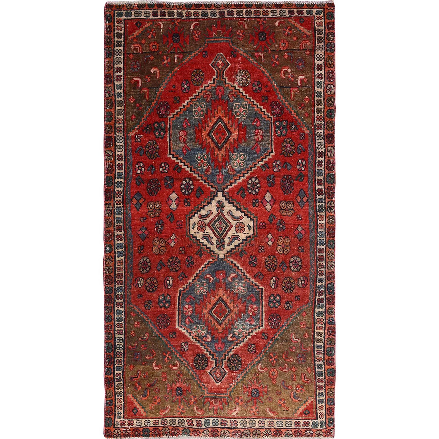 """4'X7'3"""" Red Vintage And Worn Down Persian Afshar Wide Runner Pure Wool Hand Knotted Oriental Rug moae7bae"""