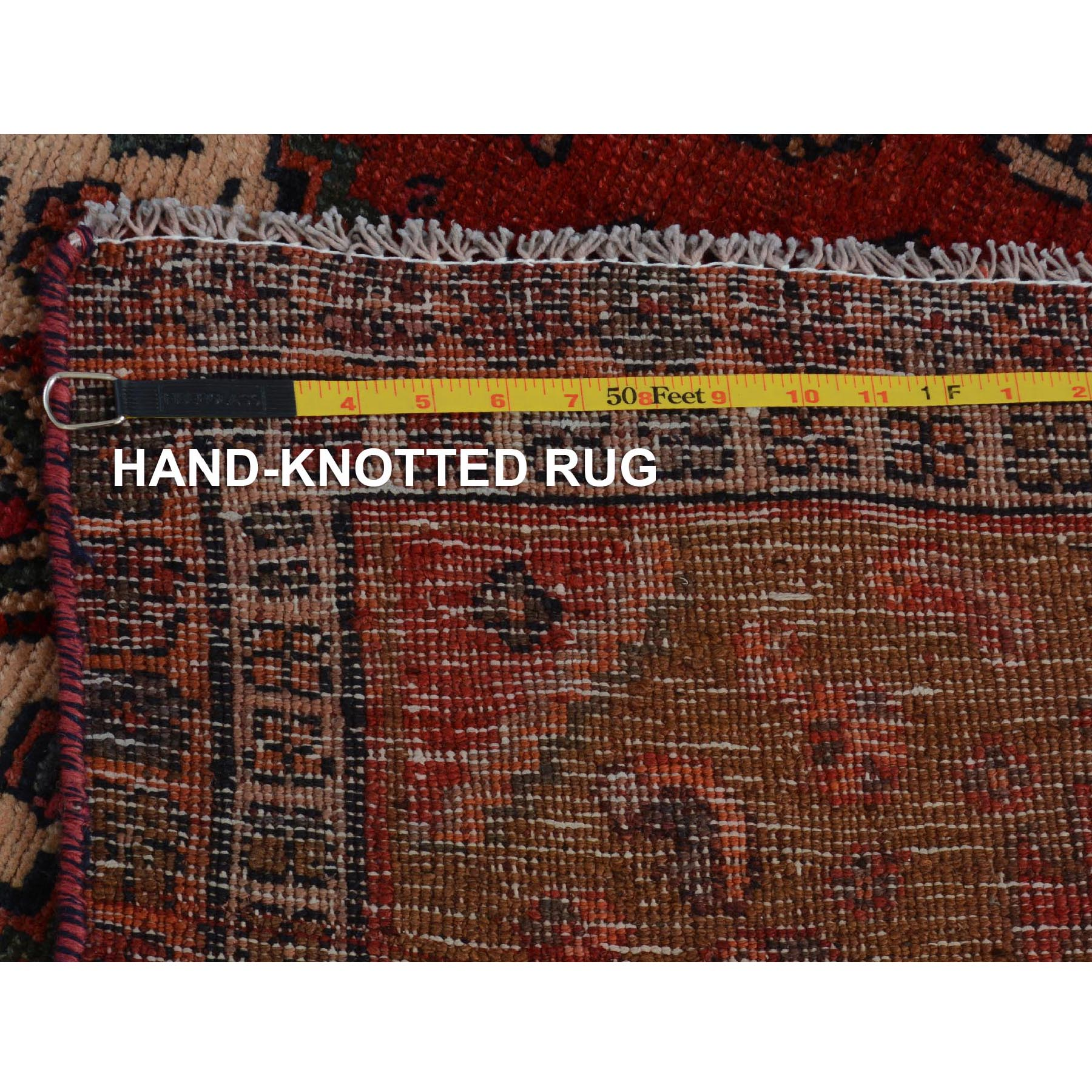 4-x7-3  Red Vintage And Worn Down Persian Afshar Wide Runner Pure Wool Hand Knotted Oriental Rug