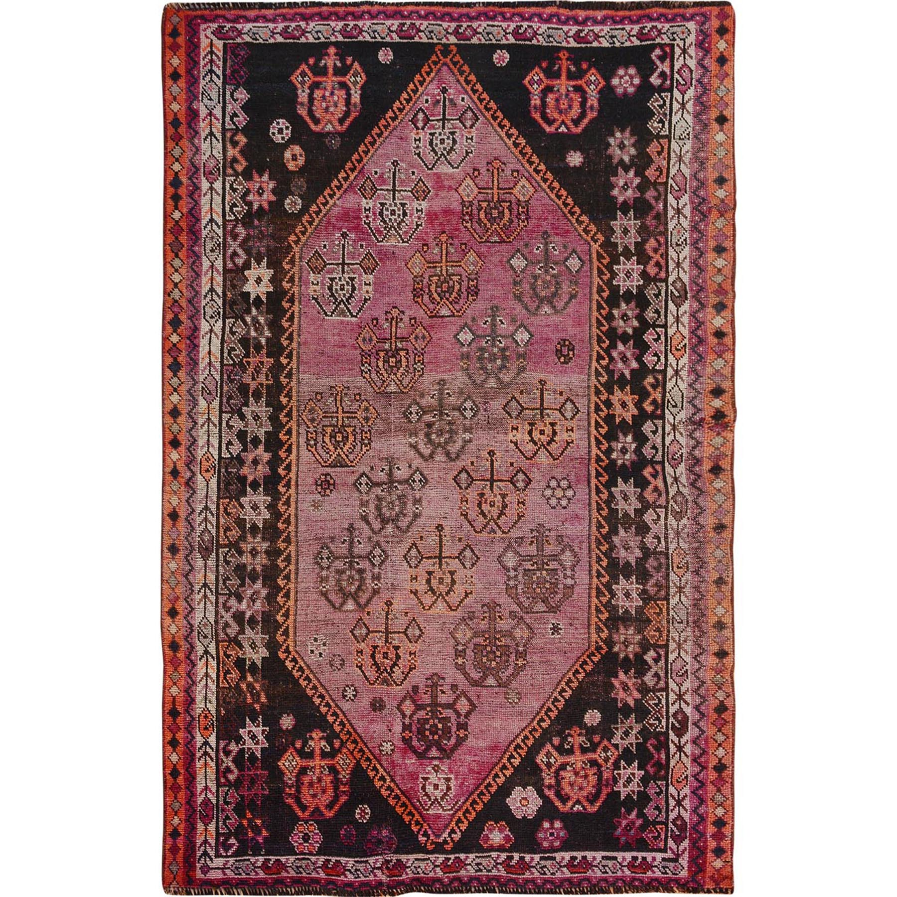 """5'X7'3"""" Red Old And Worn Down Persian Shiraz Hand Knotted Oriental Rug moae7ba6"""