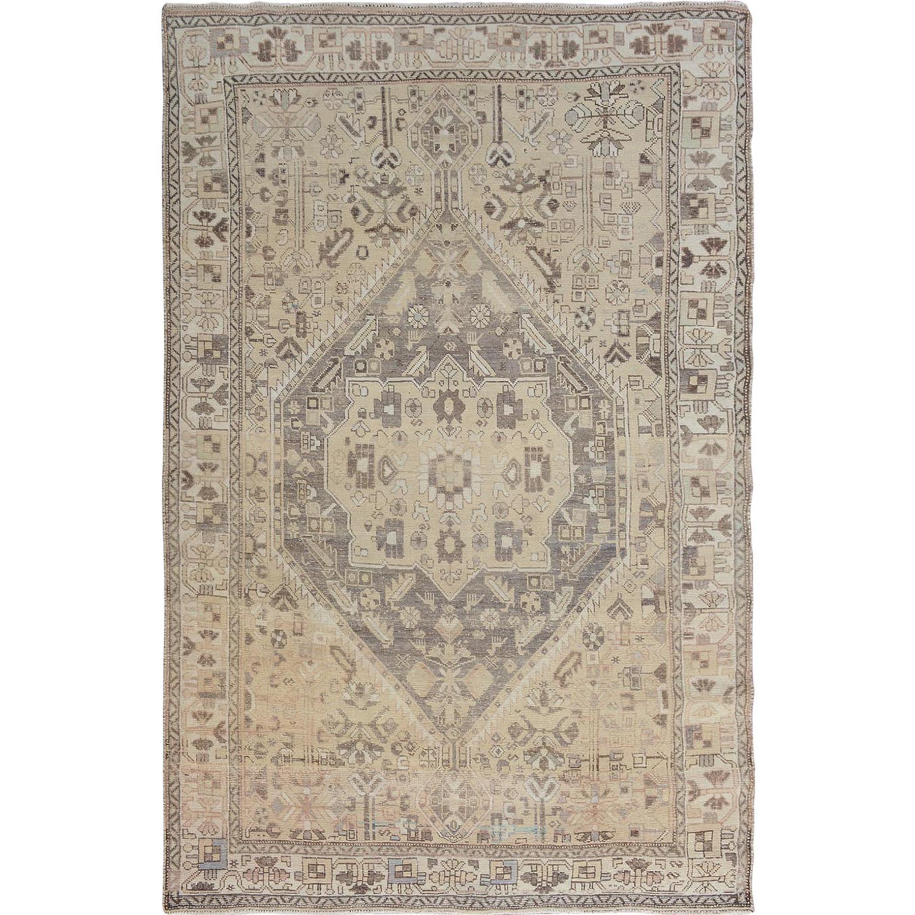 5-9 x9-  Natural Colors Vintage And Worn Down Persian Qashqai Pure Wool Hand Knotted Oriental Rug