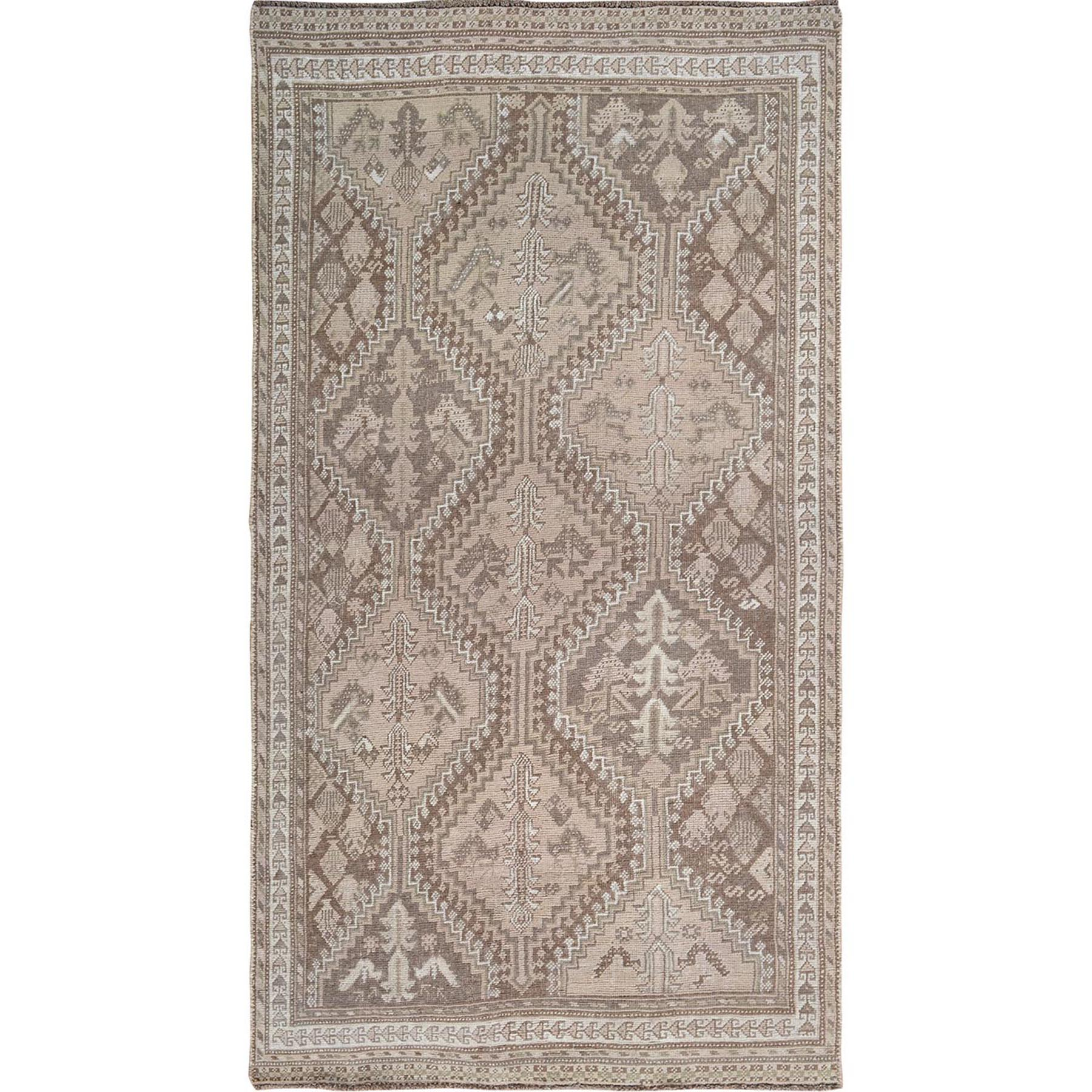 """4'9""""X8'6"""" Earth Tone Colors Vintage And Worn Down Persian Qashqai Pure Wool Hand Knotted Oriental Rug moae7bbe"""