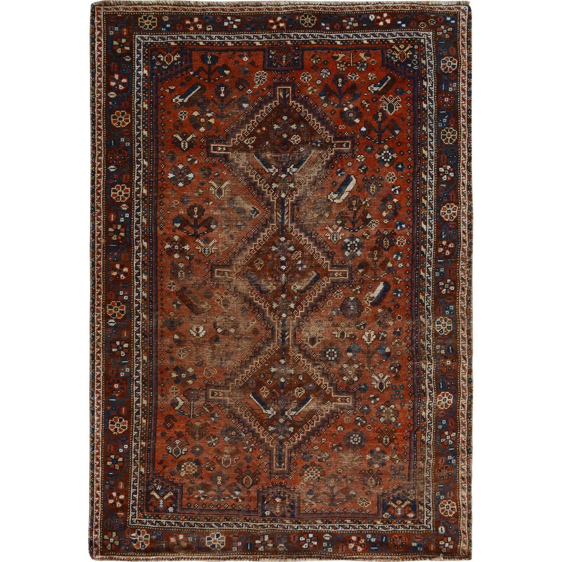"""4'8""""X6'6"""" Red Old And Worn Down Persian Shiraz Pure Wool Hand Knotted Oriental Rug moae7bb6"""