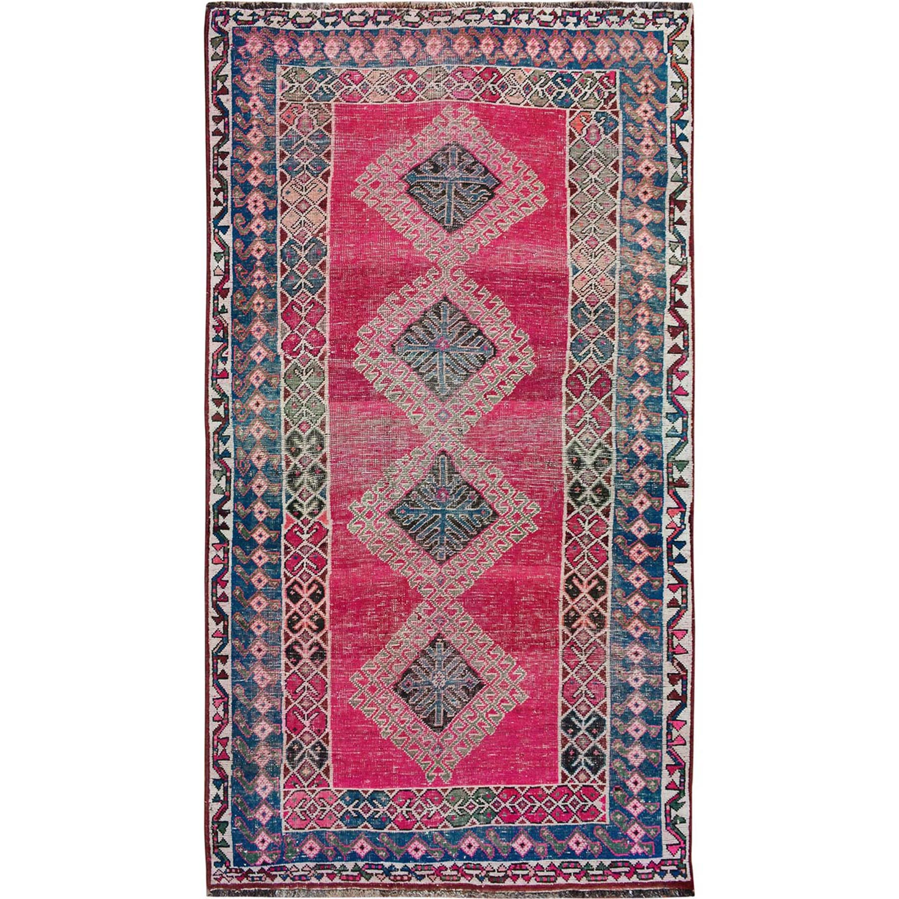 "4'5""X8' Colorful Vintage And Worn Down Persian Shiraz Pure Wool Oriental Rug moae7bb8"