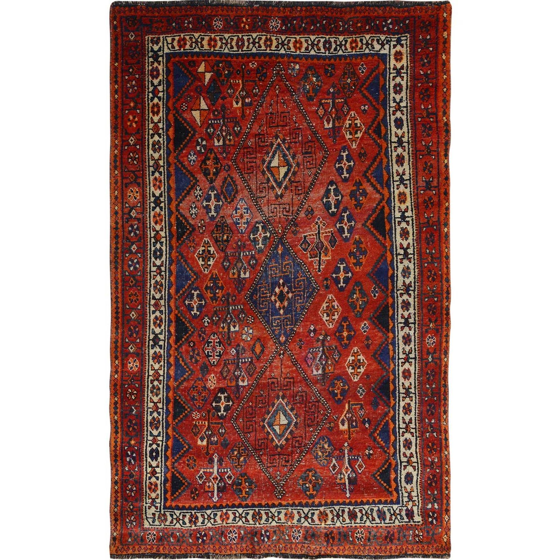"5'2""X7'10"" Rust Red Old And Worn Down Persian Qashqai Pure Wool Bohemian Rug moae7bb9"