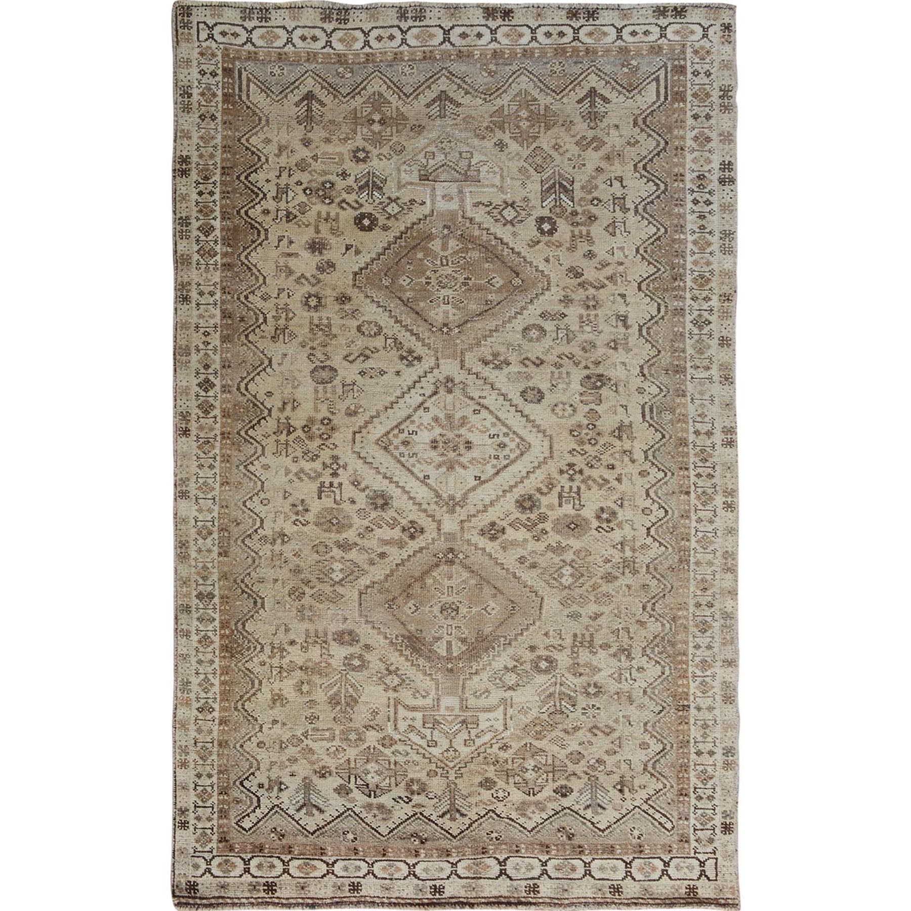 "4'10""X7'8"" Beige Old And Worn Down Persian Qashqai Pure Wool Hand Knotted Oriental Rug moae7bc0"