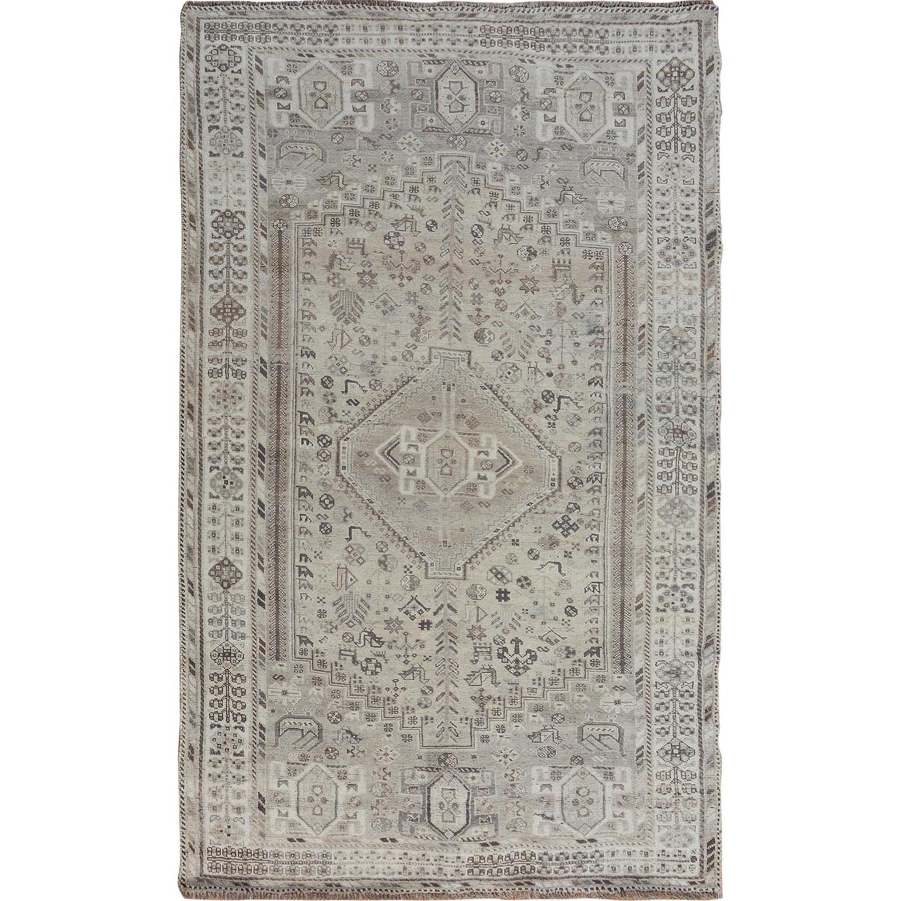 "5'8""X8'6"" Washed Out Vintage And Worn Down Persian Qashqai Pure Wool Hand Knotted Oriental Rug moae7bca"